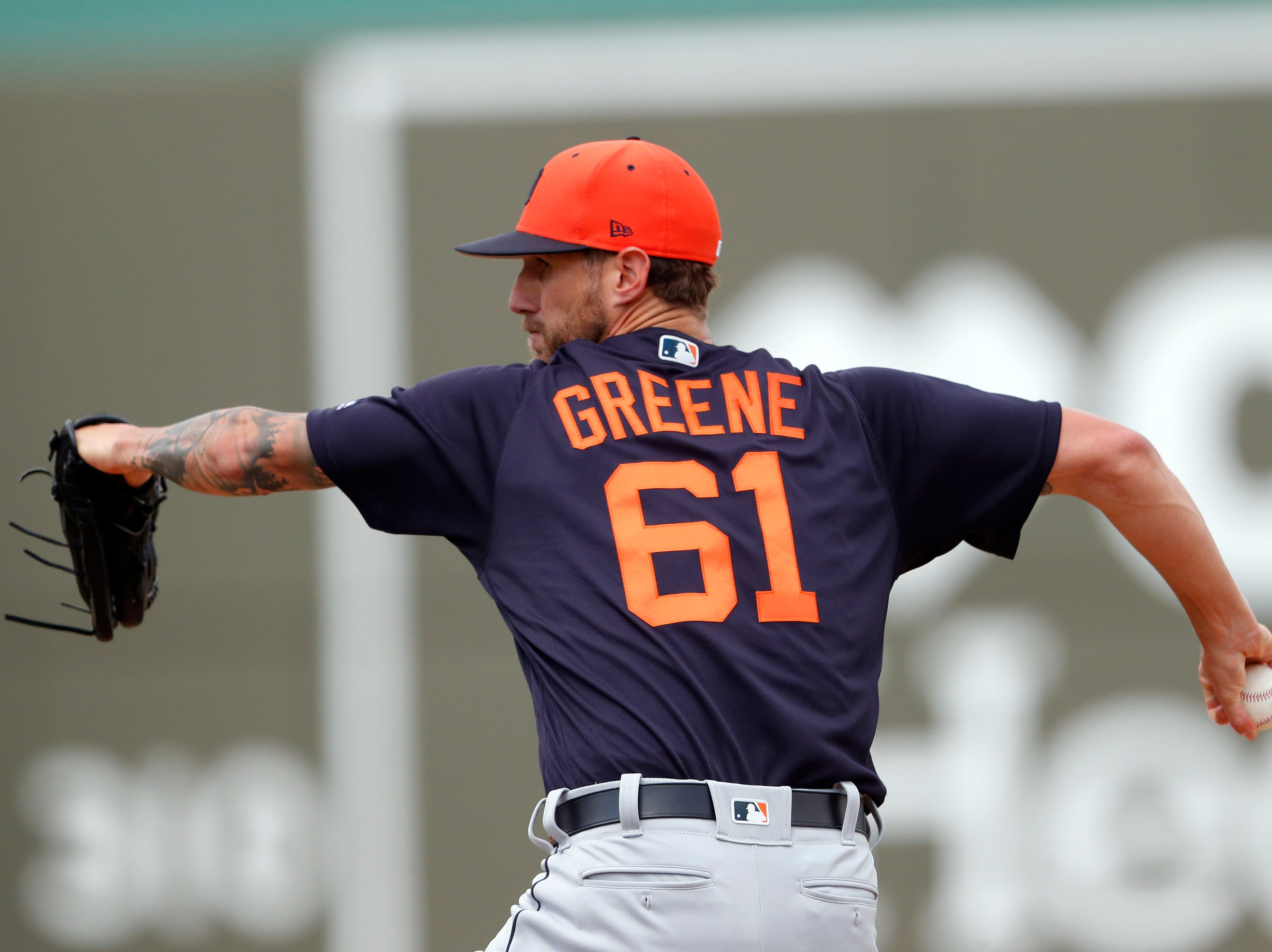 Detroit Tigers relief pitcher Shane Greene  works against Boston Red Sox in the fourth inning of a spring training game Tuesday, March 12, 2019, in Fort Myers, Fla. He pitched a scoreless inning.