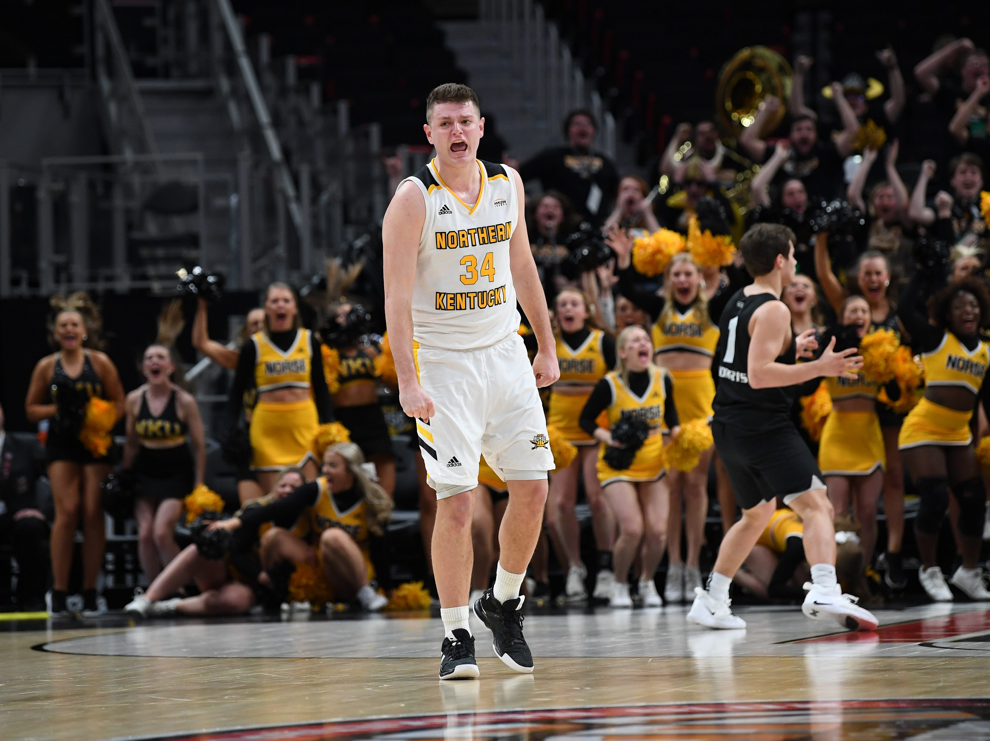 Northern Kentucky Norse forward Drew McDonald reacts after making the game winning shot aganst the Oakland Golden Grizzlies.