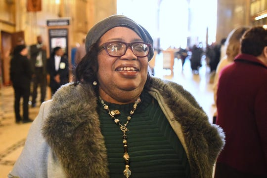 Elgina McCoy-Jones of Detroit arrives at Fisher Theatre for the musical 'Hamilton.'