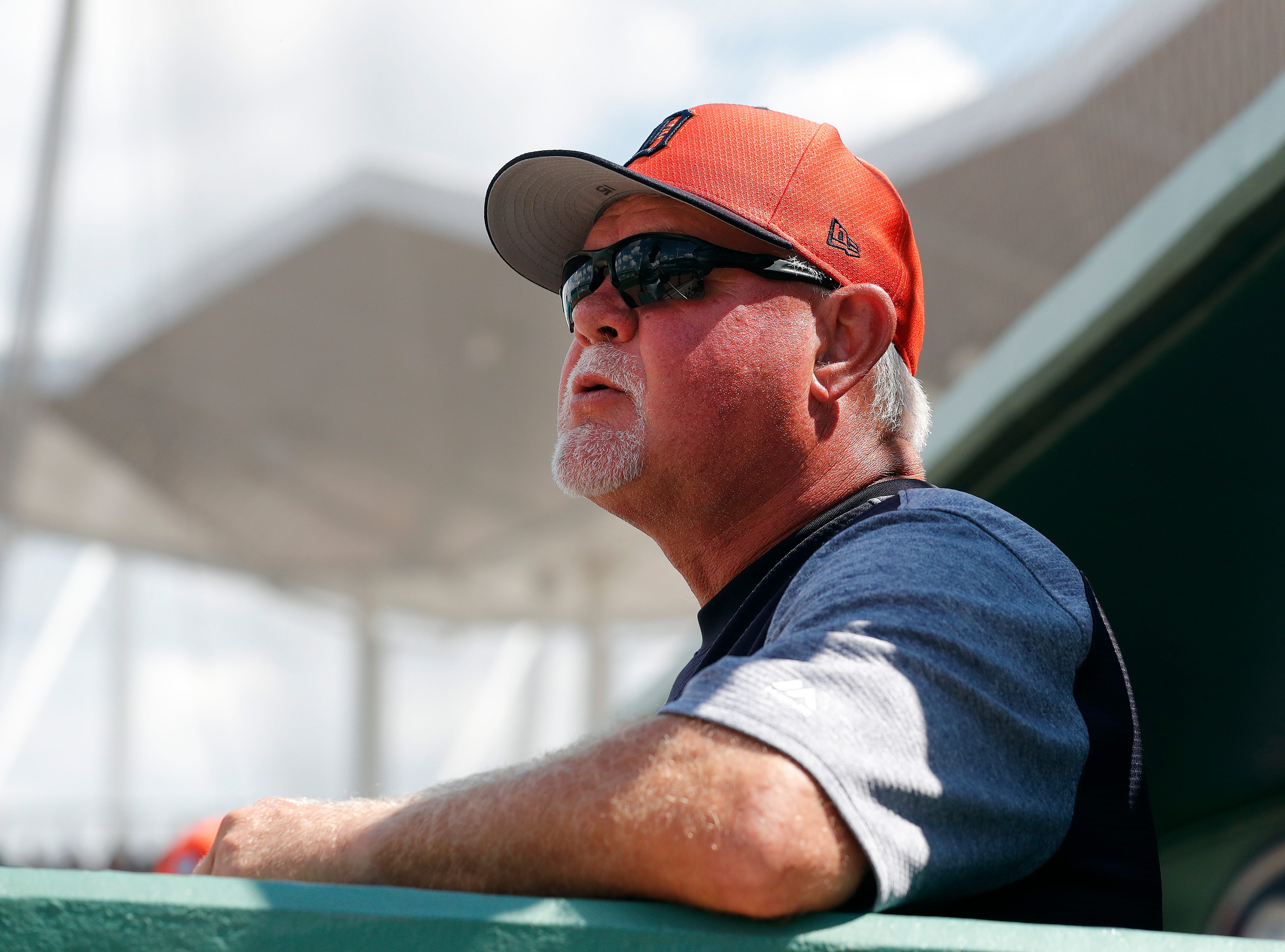 Detroit Tigers manager Ron Gardenhire watches from the dugout during the game.