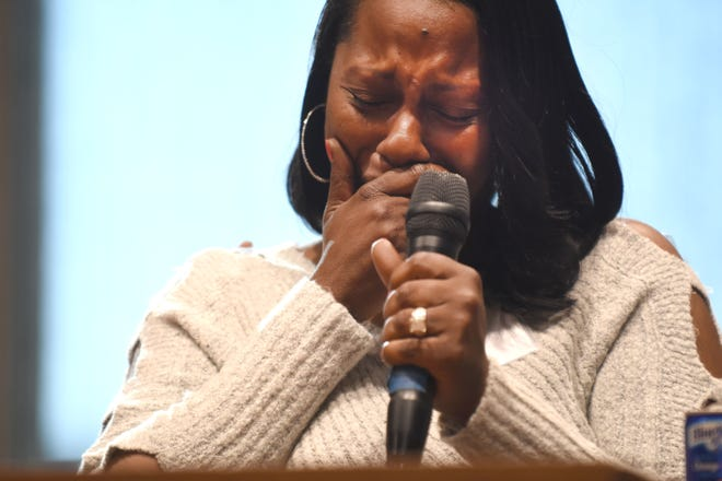 Nykia Fite of Detroit can't hold back her emotions as she expresses the hardship of keeping her home during the   Detroit Eviction Right to Counsel Summit on Tuesday, March 12, 2019, in Detroit.