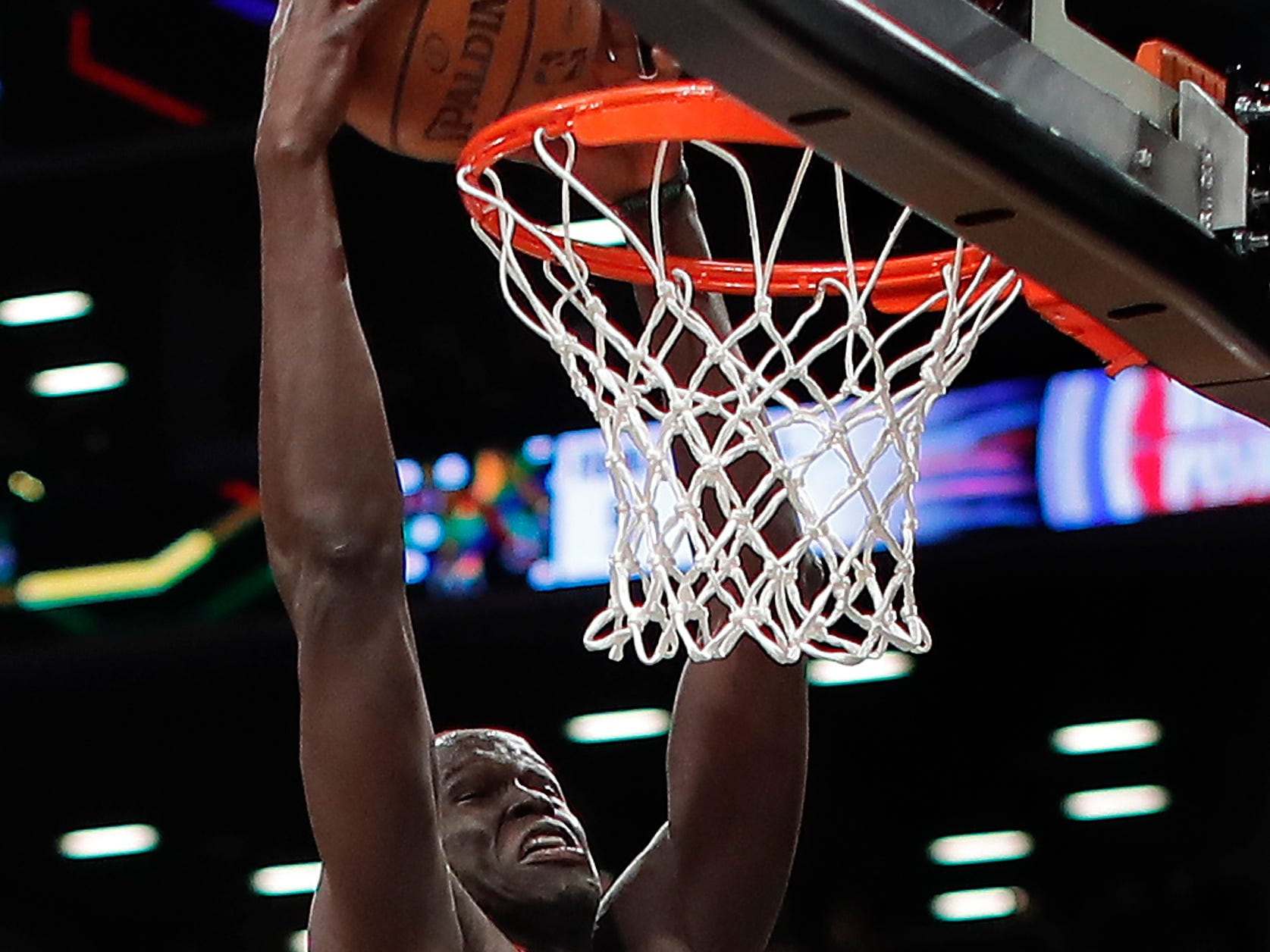 Detroit Pistons forward Thon Maker (7) dunks against the Brooklyn Nets during the first quarter.