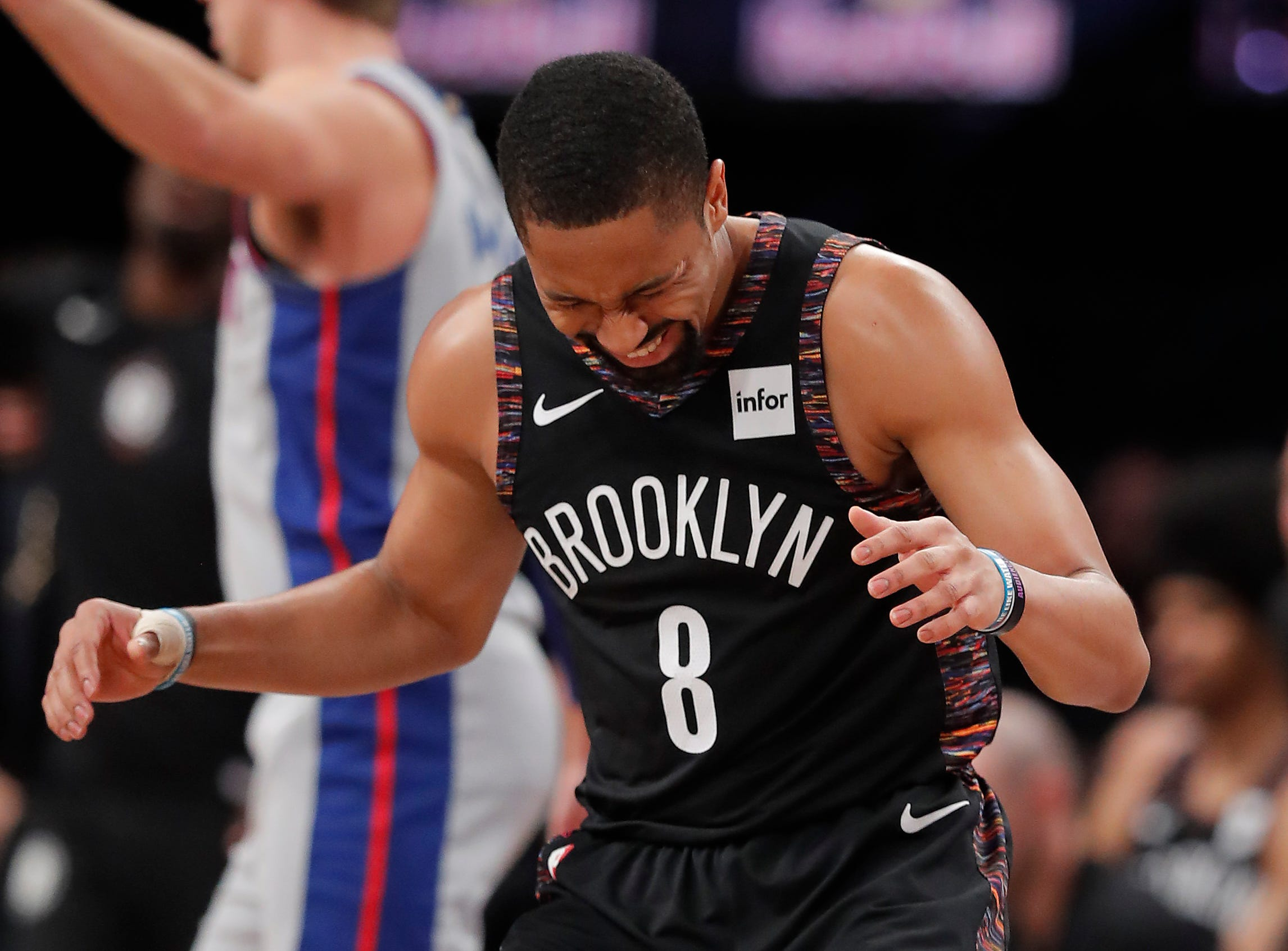 Brooklyn Nets guard Spencer Dinwiddie (8) reacts after missing a shot against the Detroit Pistons during the first quarter.
