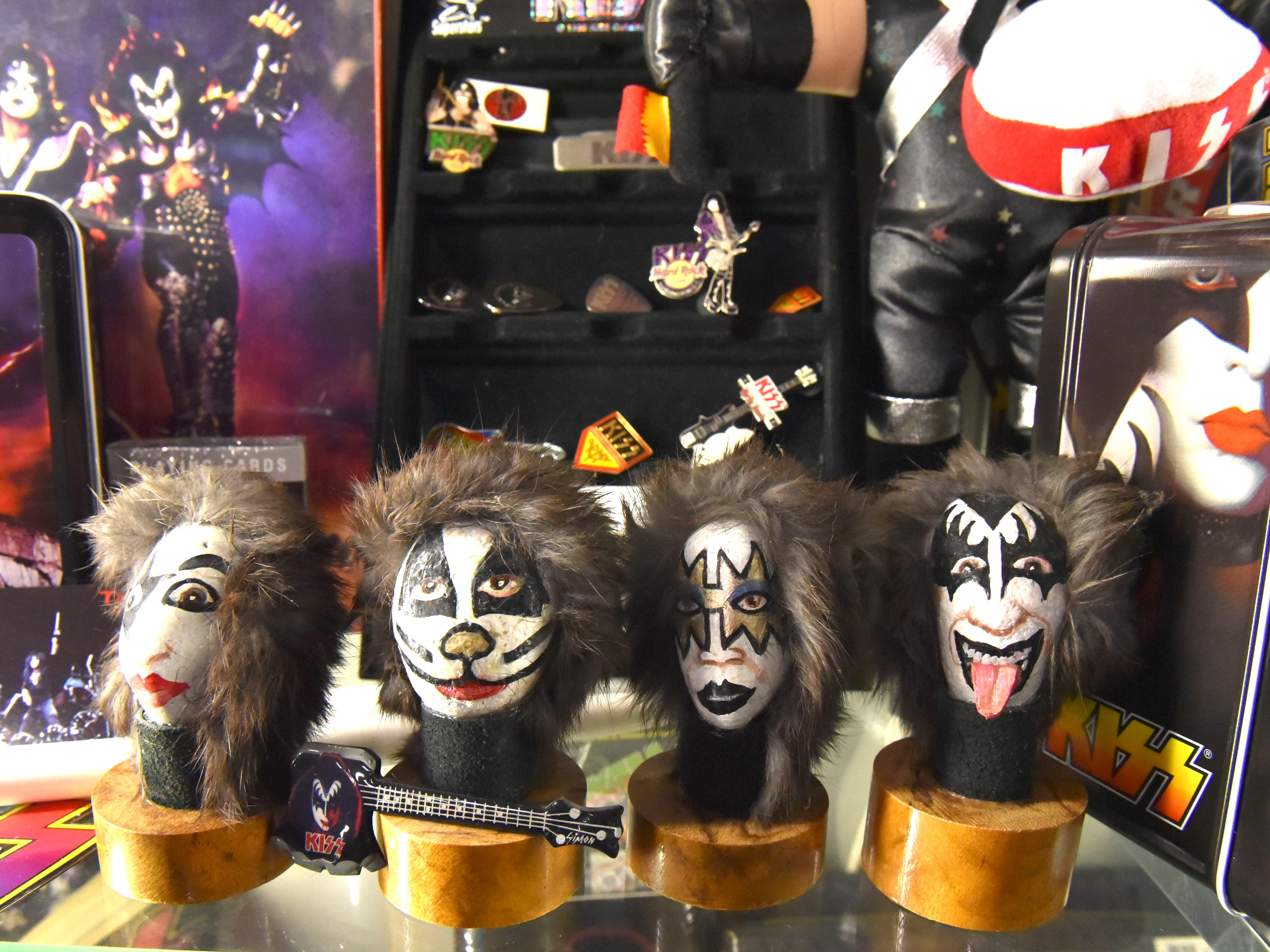 This is one of Terry's most prized possessions: rocks with the band members faces painted on them, which Terry bought from another Michigan KISS collector.