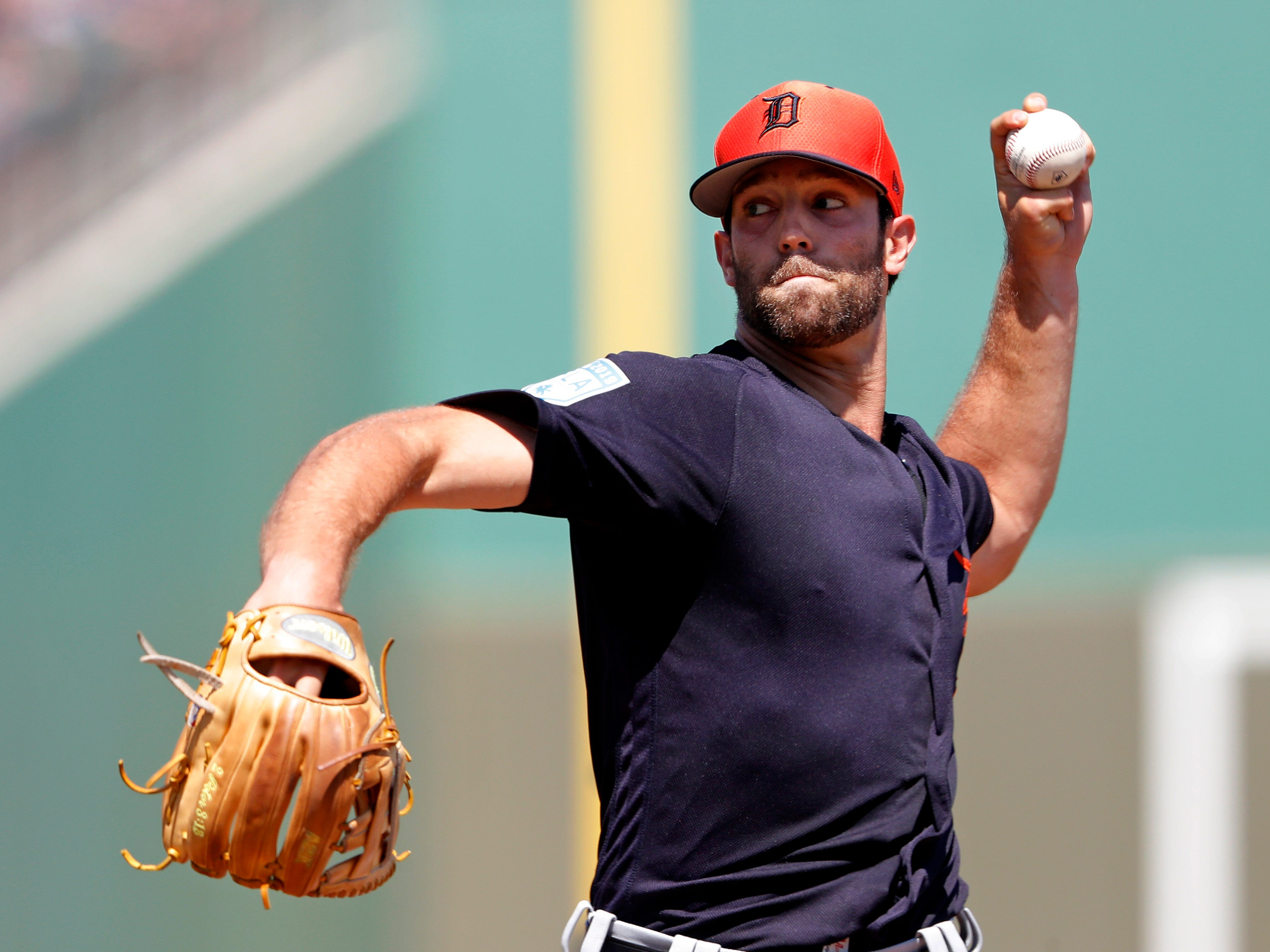 Tigers starting pitcher Daniel Norris works in the first inning. He pitched three scoreless innings.