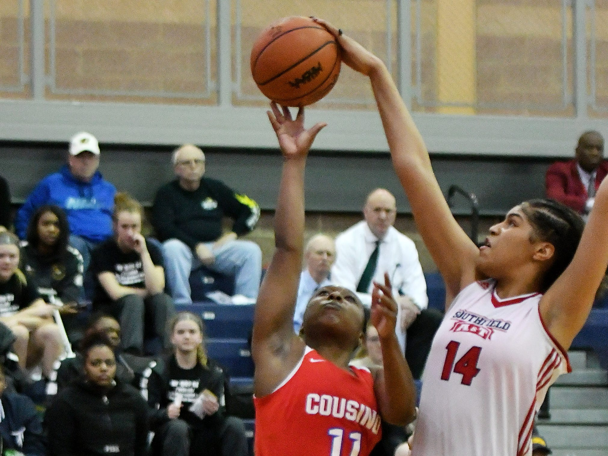 Southfield A&T's Jasmine Worthy (14) blocks a shot buy Warren Cousino's Mackenzie Cook (11) in the first half.