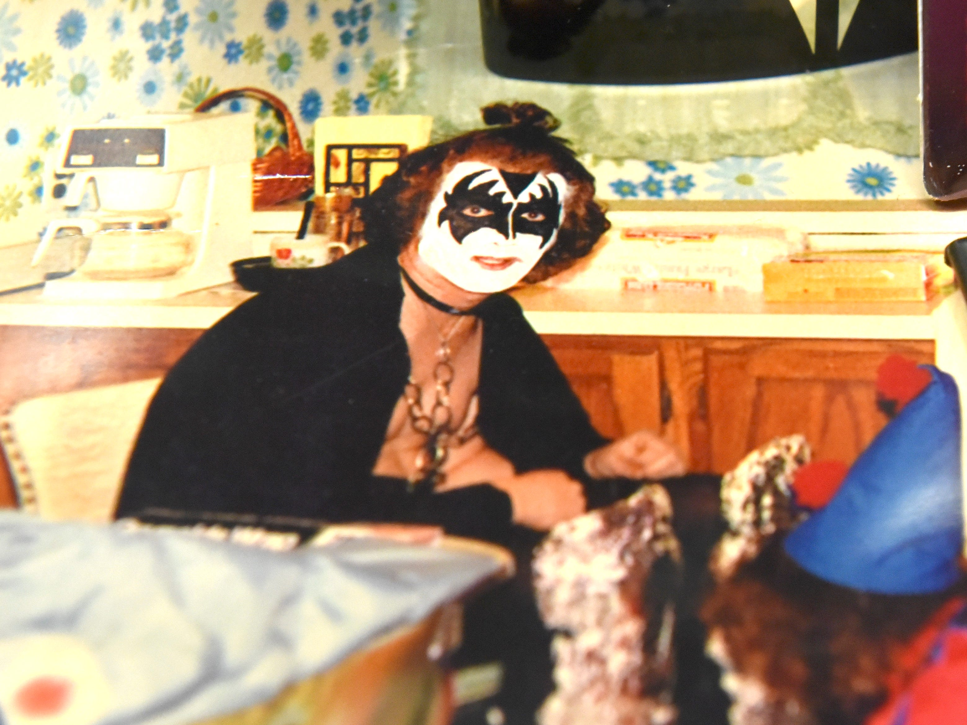 This is an image of Terry Pakulski dressed up like KISS bassist Gene Simmons in 1976.