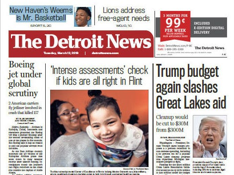 Front page of The Detroit News on Tuesday, March 12, 2019.