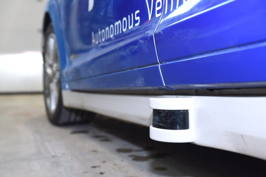 The integrated LIDAR -- Light Detection and Ranging -- is a remote sensing method that uses light in the form of a pulsed laser to measure ranges and distances on the Autonomous Vehicle Assistant at the American Center for Mobility testing center   in Ypsilanti.