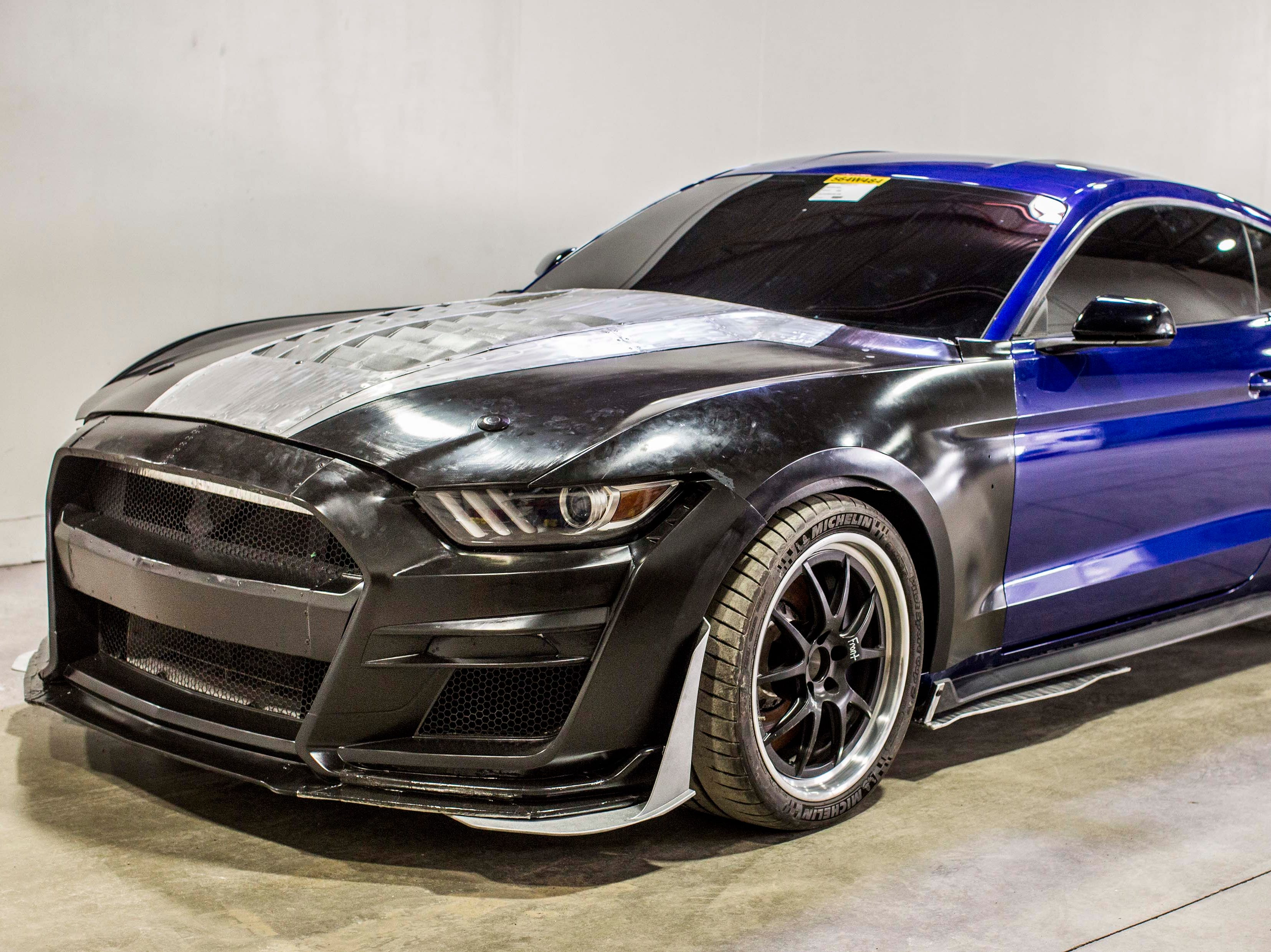 """3D printed. An early """"Buck"""" version of the 2020 Ford Mustang GT500 used extensive 3D modeling in front of the A-pillar to put computer data to immediate use in the wind tunnel."""
