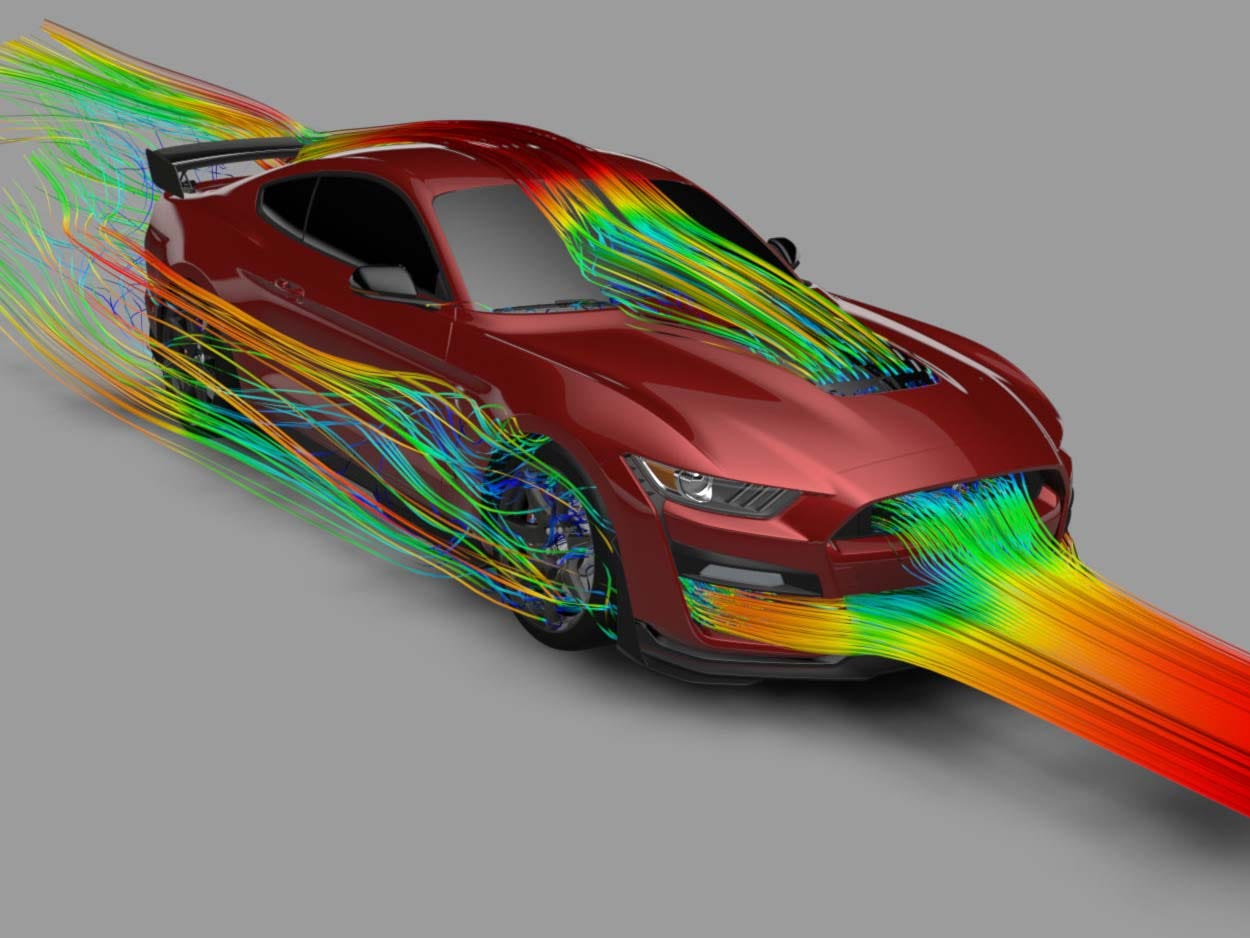 Computational Fluid Dynamics illustrated. Airflow for aero and thermal dynamics for the 2020 Ford Mustang GT500 were developed in supercomputers.