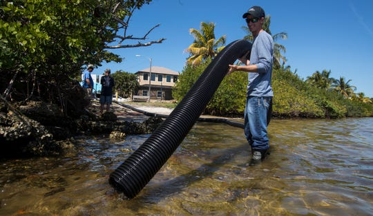 Rhett Gehring, an environmental specialist with Duke Energy, uses a large hose to release juvenile redfish into the waters of St. James City Tuesday morning, 3/12/19. The release was part of continuing red tide recovery efforts in Southwest Florida.  Approximately 2,000 juvenile fish and 30 adult redfish, all hatchery-reared and donated from the Duke Mariculture Center in Crystal River were part of the release.