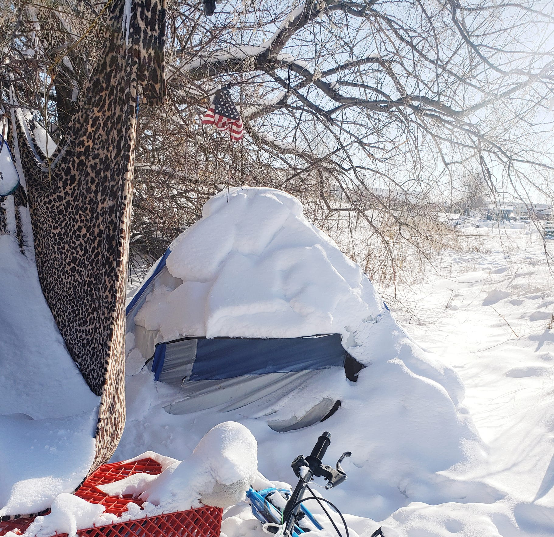 A homeless camp in Great Falls, which received 32.3 inches of snow in February, the city's third-snowiest February on record.
