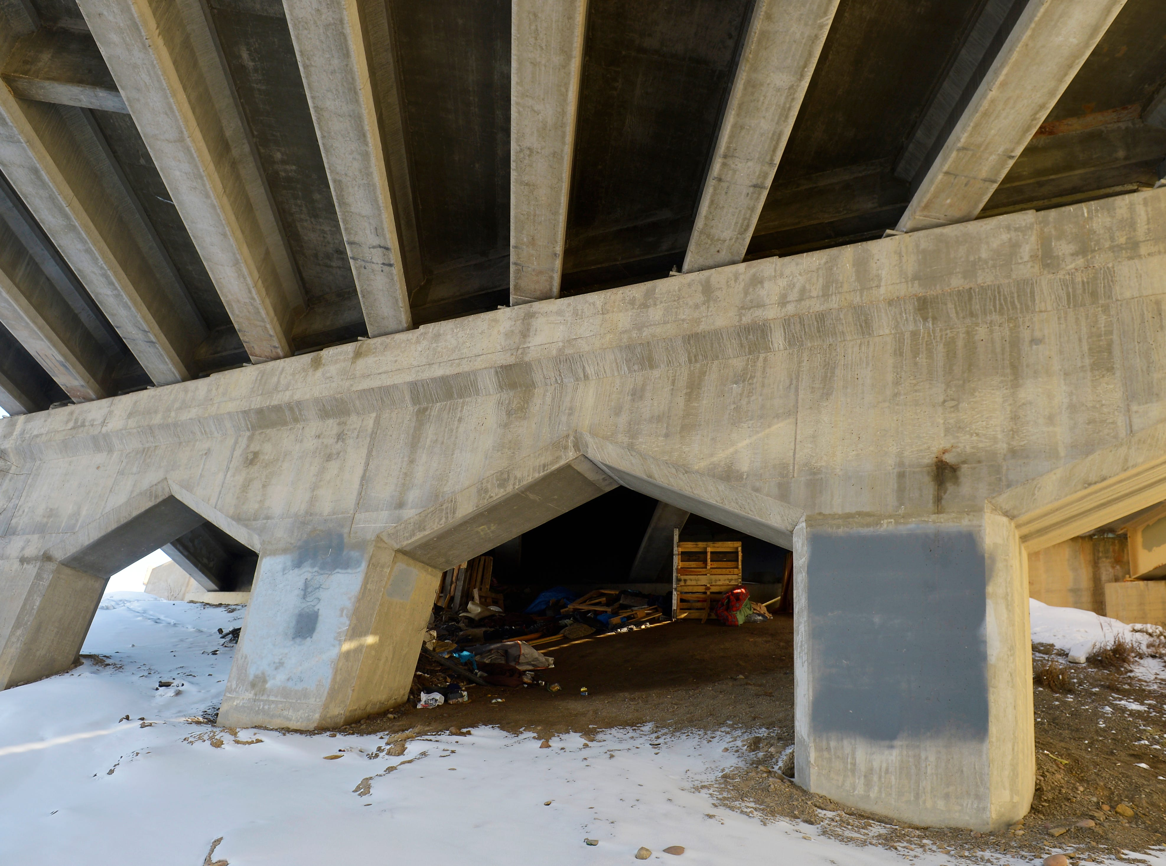 A homeless camp under the Warden Bridge that was abandoned in the severe weather of early February. Barbara Snider lived under this bridge when she died in January.