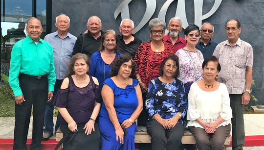 The GWHS Class of 1962 held its luncheon on March 3 at Papa's Restaurant in Barrigada.  Seated from left: Josefa Matanane, Terry Contreras, Gloria Flores, and Judy Perez.  Standing left to right: Pete Babauta, Pete Cruz, David Afaisen, Fely Sablan, Frank Crisostomo, Rita Salas, Felix Santos, Marietta Camacho, Frank Perez, and Frank Alig. The 57th class reunion anniversary Mass will be held at 11:15 a.m. June 2 at the Santa Lourdes Catholic Church in Yigo.