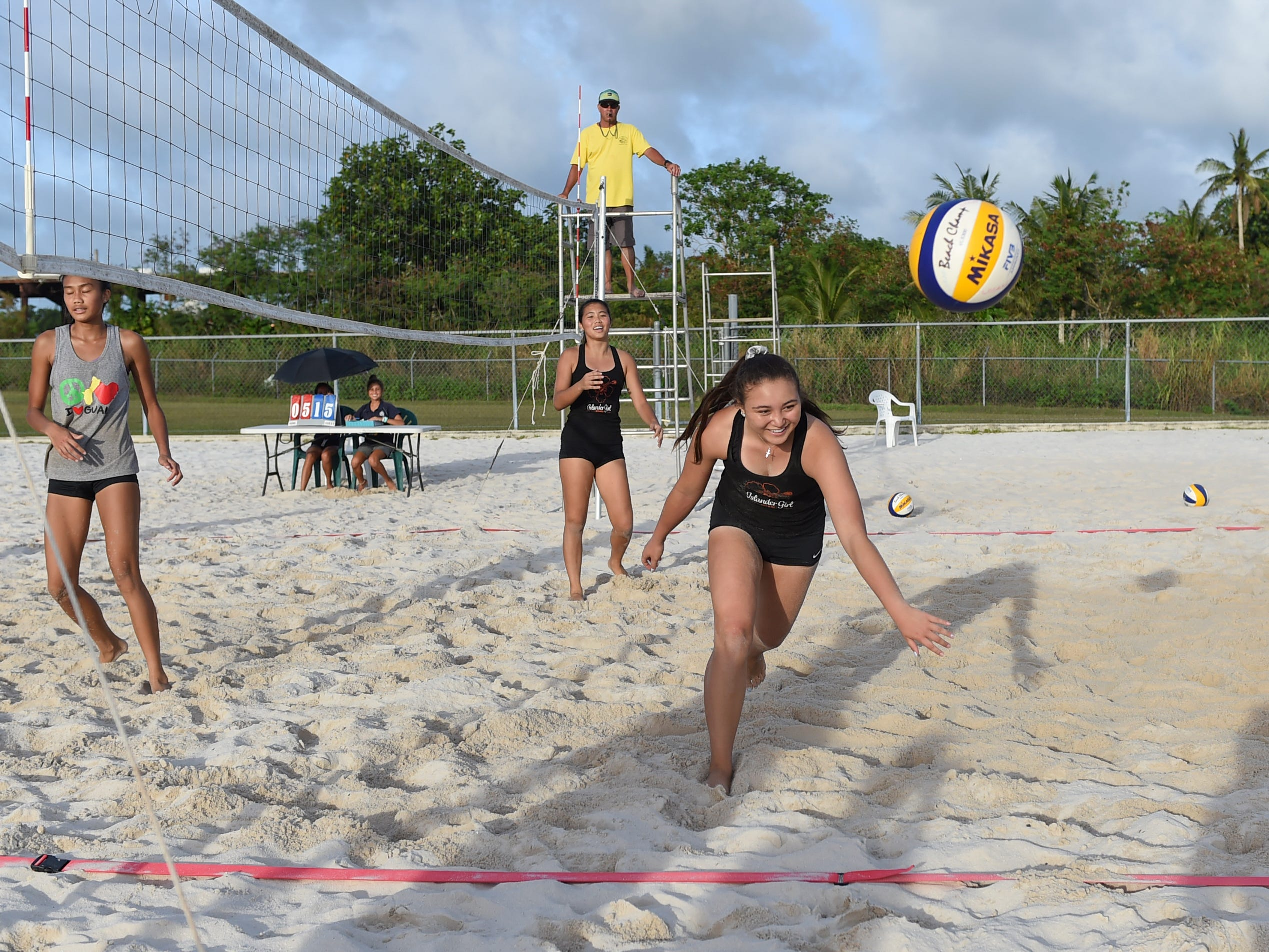 St. John's player Tylee Shepherd loses the ball on a play during the IIAAG Beach Volleyball championship game at the Guam Football Association National Training Center in Dededo, March 12, 2019.