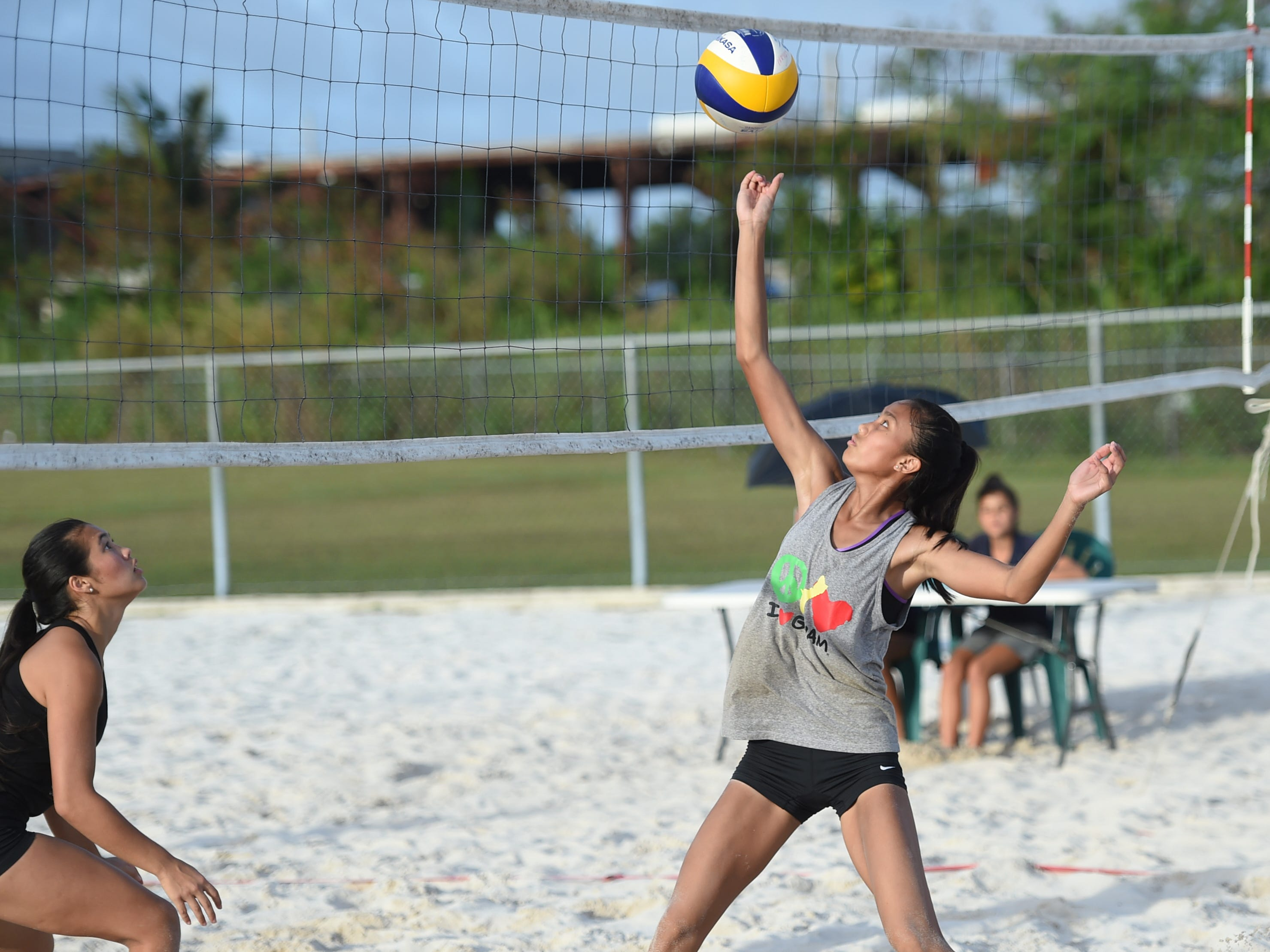 Kristen Serrano competes during the IIAAG Beach Volleyball championship game at the Guam Football Association National Training Center in Dededo, March 12, 2019.