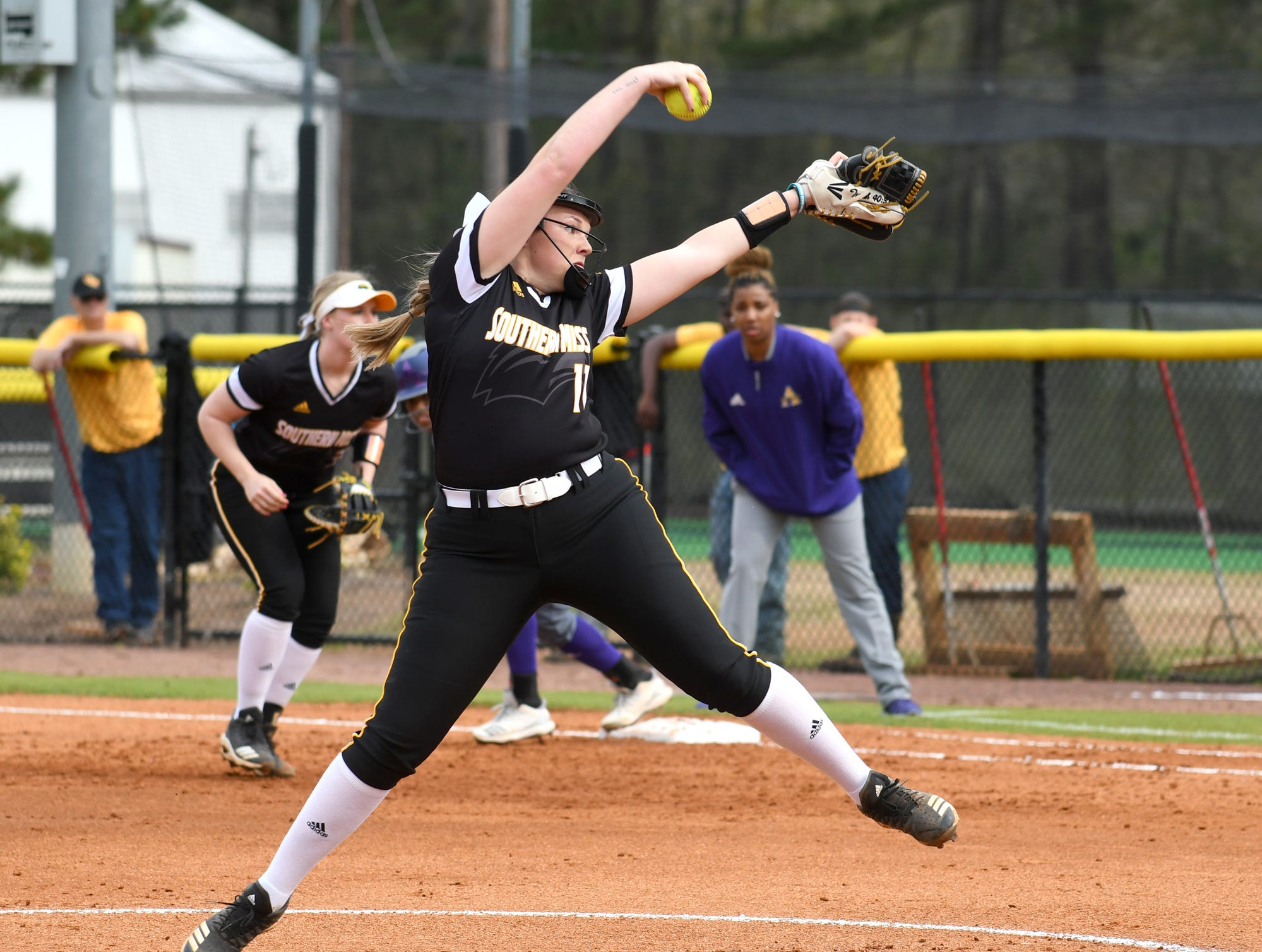 Southern Miss pitcher Kaylan Ladner throws the ball in a game against Alcorn on Tuesday, March 12, 2019.