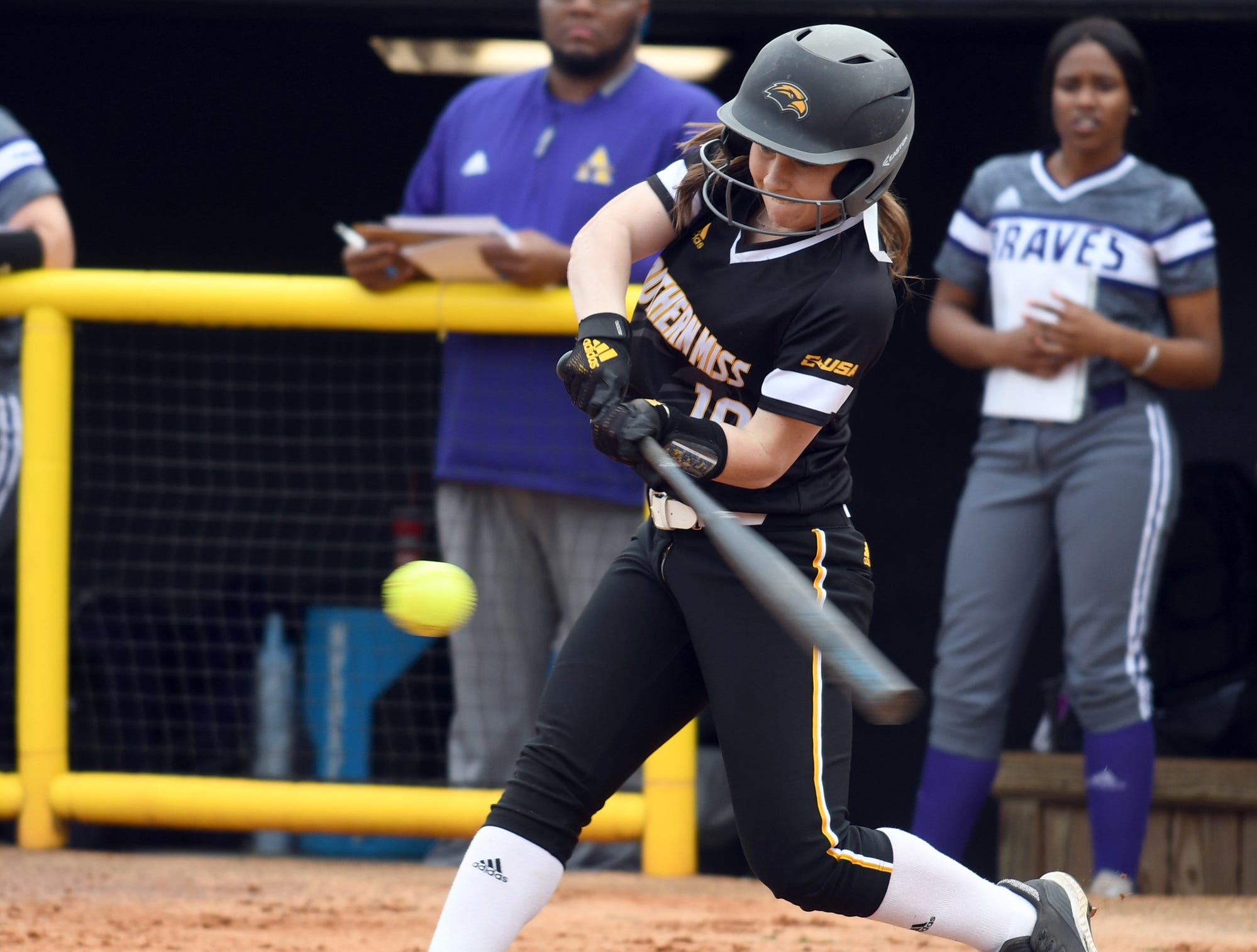 Southern Miss' Madison Rayner swings for the ball in a game against Alcorn on Tuesday, March 12, 2019.