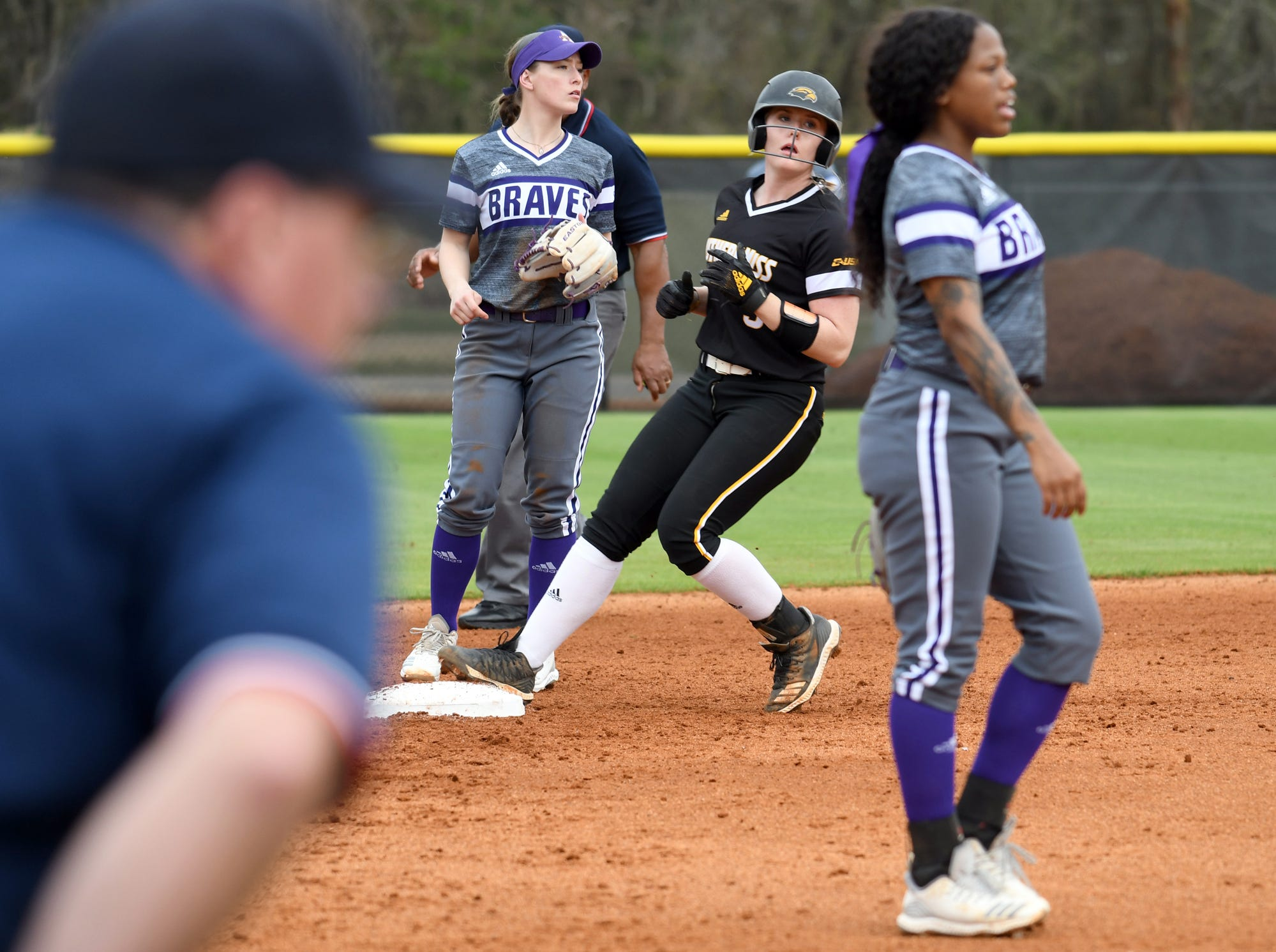 Southern Miss infielder Sarah Van Schaik steps onto second base in a game against Alcorn on Tuesday, March 12, 2019.