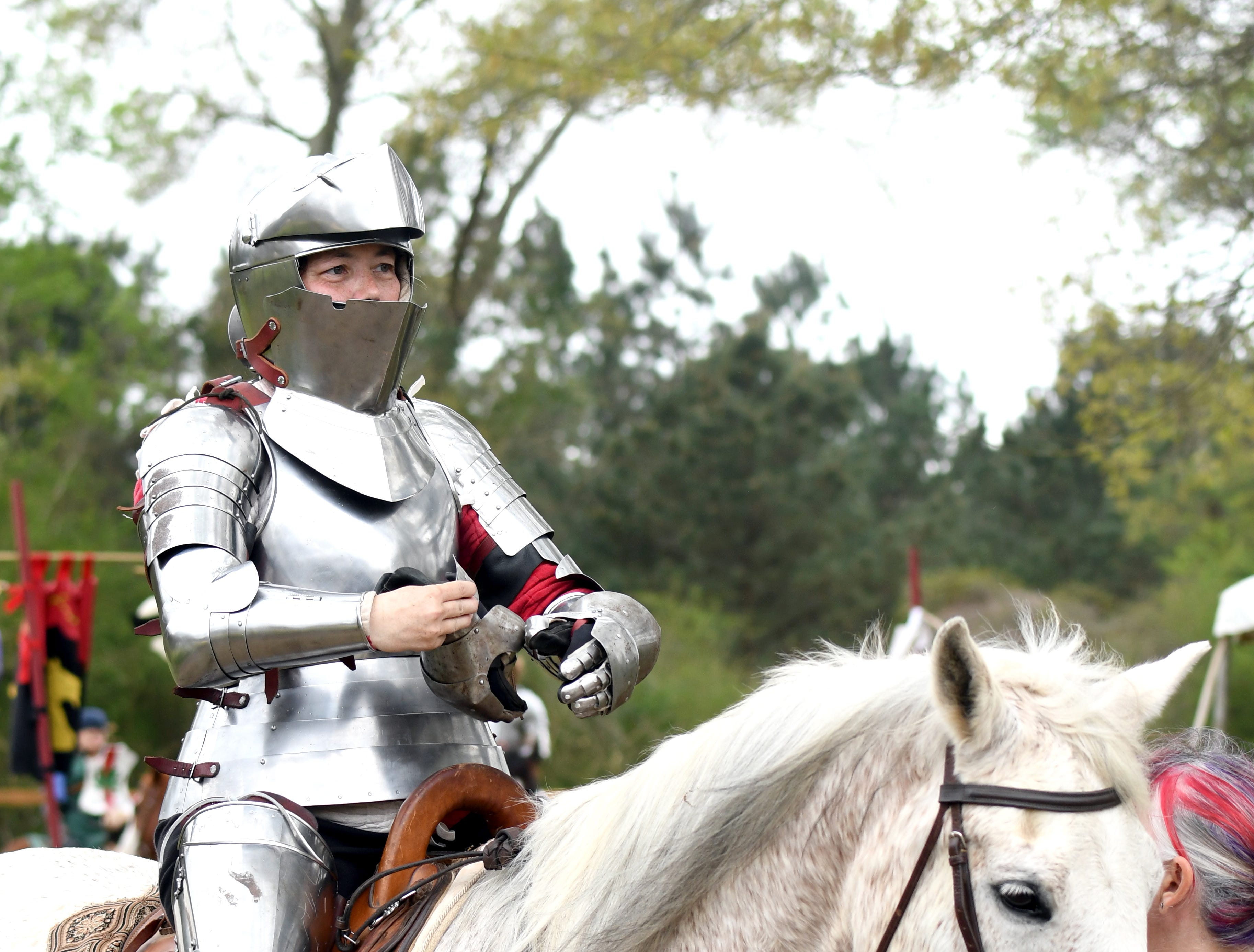 Residents of the Gulf Wars practice their jousting at King's Arrow Ranch in Lumberton on Monday, March 11, 2019.