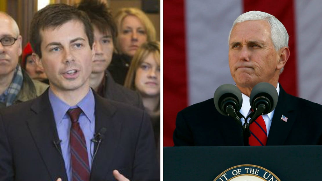 Pete Buttigieg, left, is the mayor of South Bend, Indiana, and is running for the 2020 Democratic nomination for president. Mike Pence, right, is a former governor of Indiana and the Vice President under President Trump.
