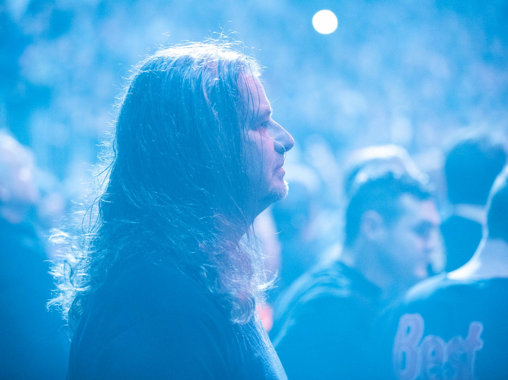 A Metallica fen lets his hair down for head banging as the band brings their WorldWired Tour to Bankers Life Fieldhouse on Monday, March 11, 2019.