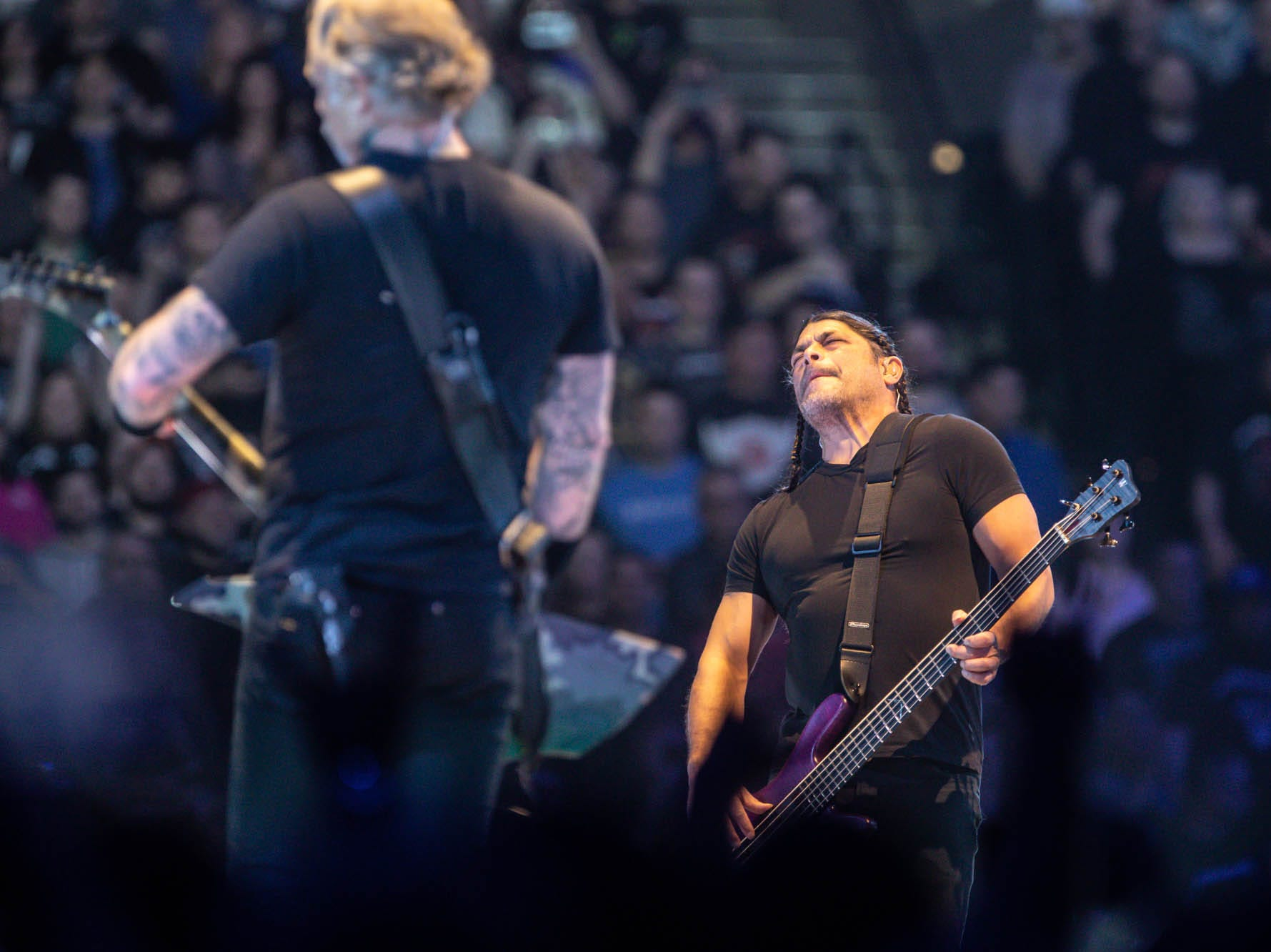 Metallica member Robert Trujillo, right, performs as the band brings their WorldWired Tour to Bankers Life Fieldhouse on Monday, March 11, 2019.