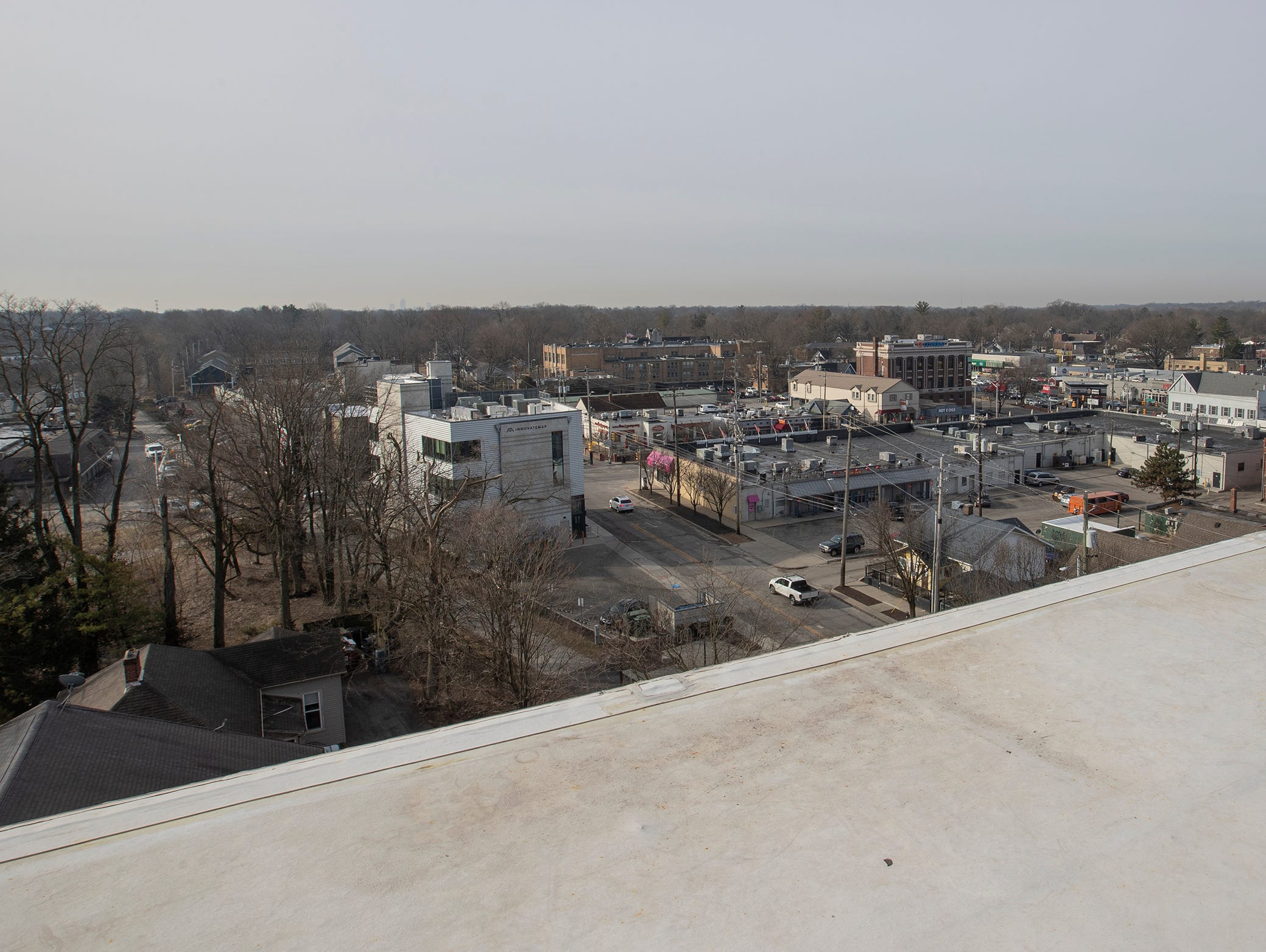 This is the view from the rooftop patio area for residents of the River House. The River House features studio, 1 and 2 bedroom new apartment homes in Broad Ripple on Tueday, March 12, 2019. Located in the heart of Broad Ripple right on the Monon Trail and White River.