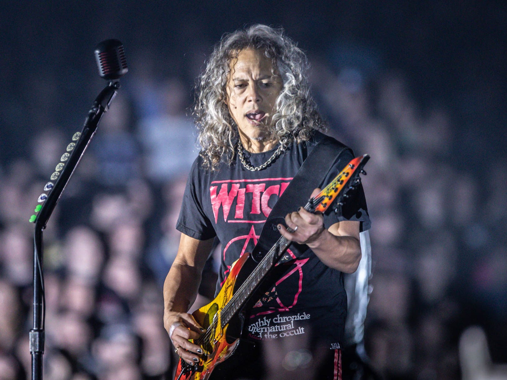 Metallica member Kirk Hammett performs as the band brings their WorldWired Tour to Bankers Life Fieldhouse on Monday, March 11, 2019.