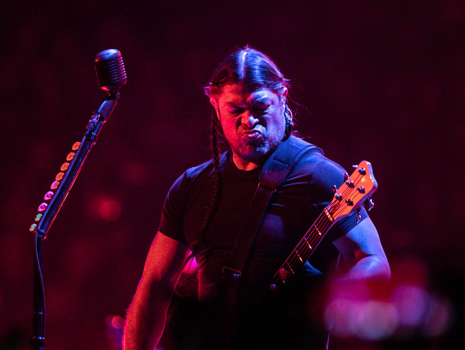 Metallica member Robert Trujillo performs as the band brings their WorldWired Tour to Bankers Life Fieldhouse on Monday, March 11, 2019.