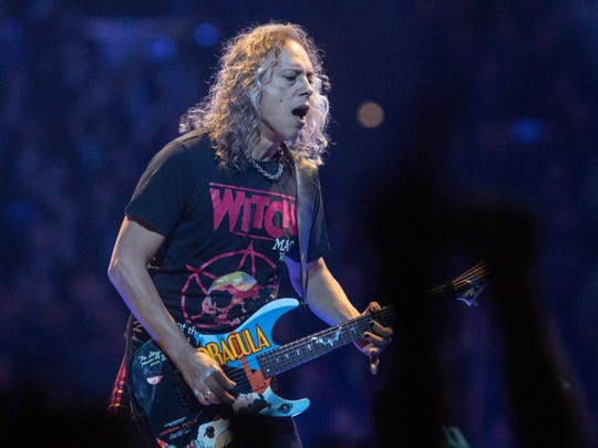 Kirk Hammett performs with Metallica Monday at Bankers Life Fieldhouse.