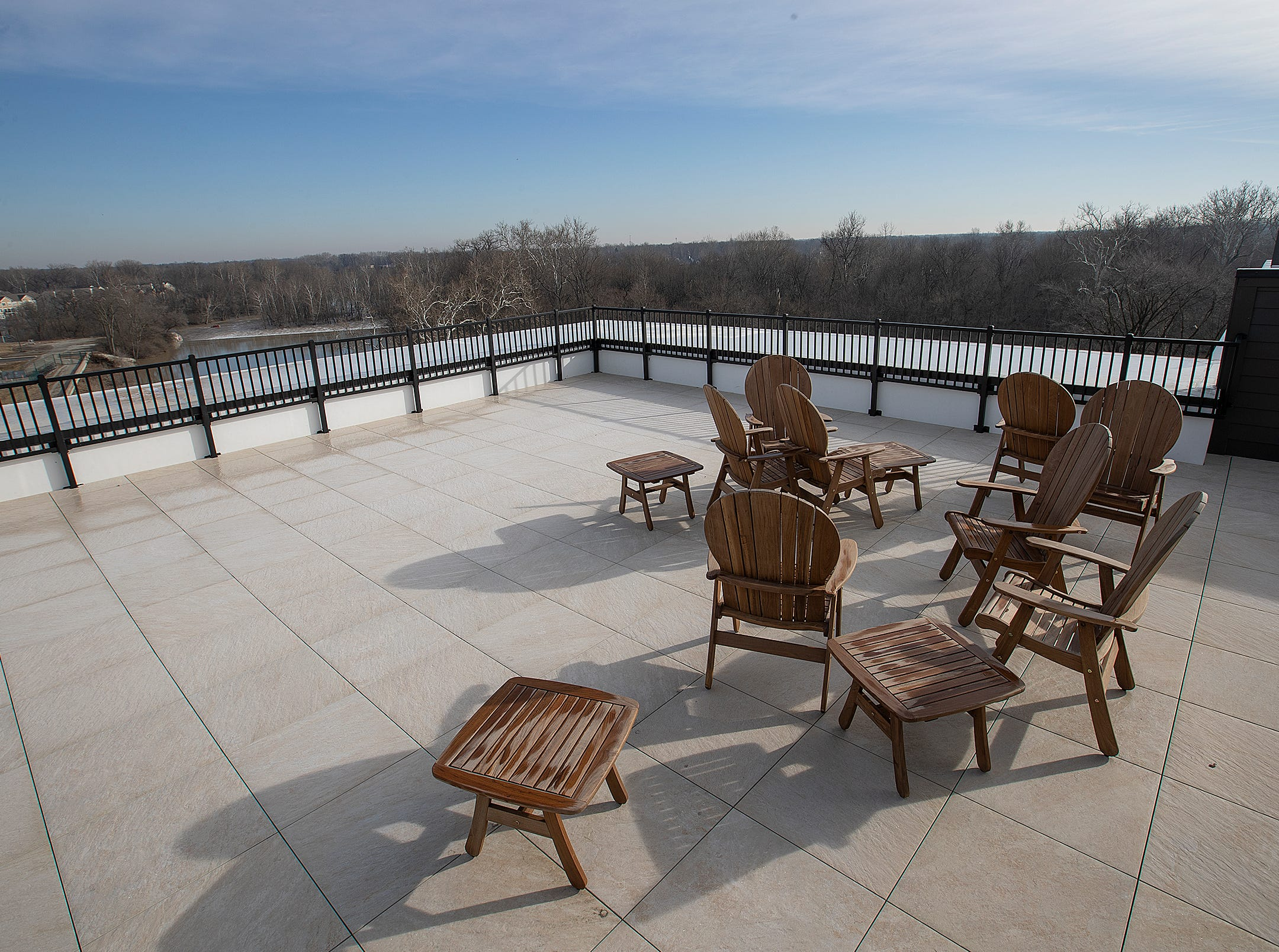This is the rooftop patio area for residents of the River House. The River House features studio, 1 and 2 bedroom new apartment homes in Broad Ripple on Tueday, March 12, 2019. Located in the heart of Broad Ripple right on the Monon Trail and White River.