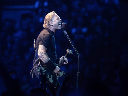 James Hetfield performs with Metallica Monday at Bankers Life Fieldhouse.