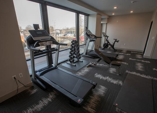 The fitness room at the River House. The River House features studio, 1 and 2 bedroom new apartment homes in Broad Ripple on Tueday, March 12, 2019. Located in the heart of Broad Ripple right on the Monon Trail and White River.