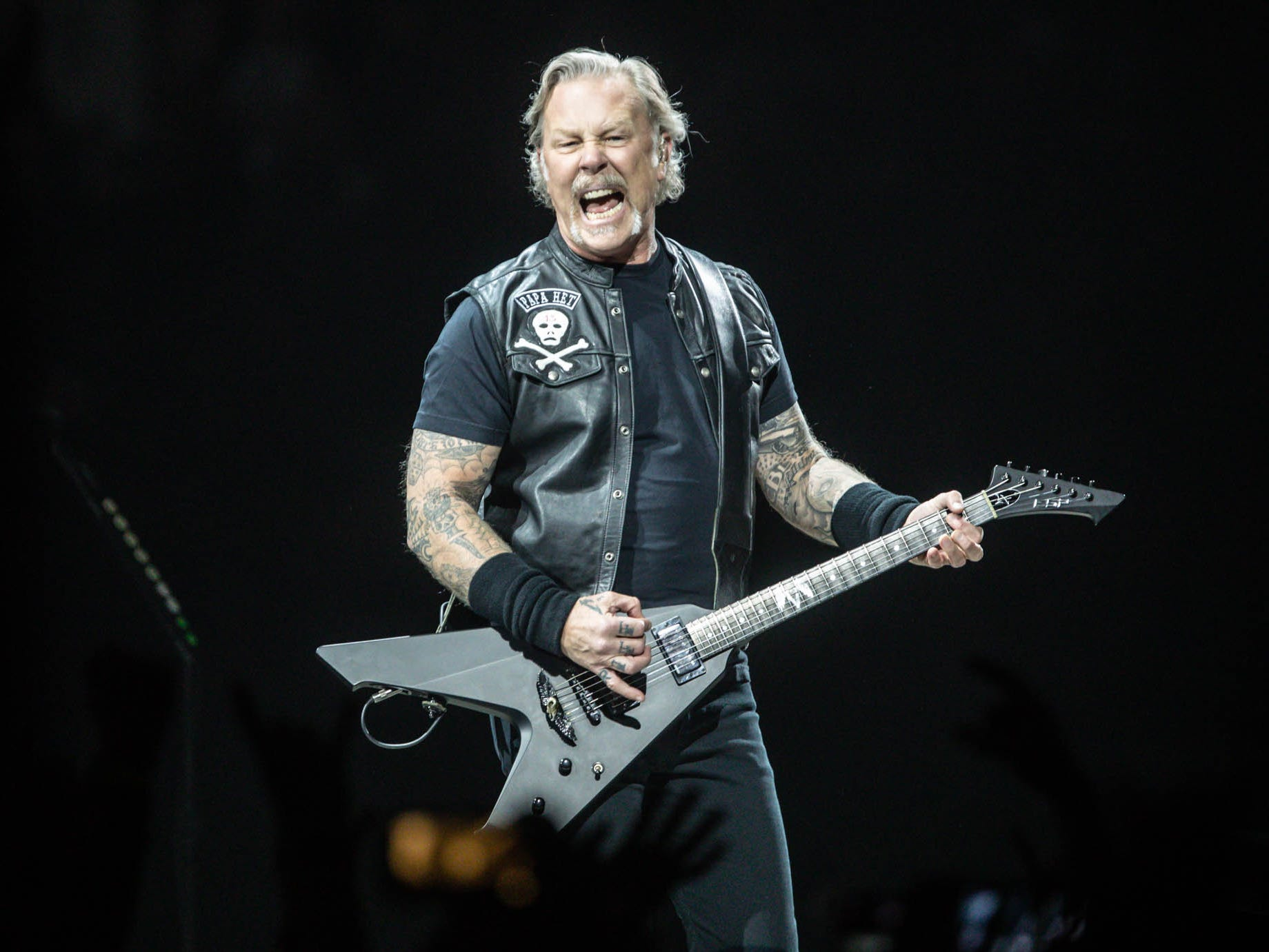 Original Metallica member James Hetfield performs as the band brings their WorldWired Tour to Bankers Life Fieldhouse on Monday, March 11, 2019.