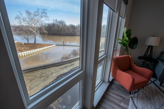Here is the view from the one bedroom apartment at the River House.The River House features studio, 1 and 2 bedroom new apartment homes in Broad Ripple on Tueday, March 12, 2019. Located in the heart of Broad Ripple right on the Monon Trail and White River.