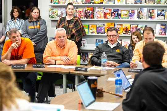 School board members, from left, Dan Coons, Rick Jedlicka, Jim Hauer and Adam Haluska are pictured during a school board meeting on Monday, March 11, 2019, at the Solon Intermediate School, in Solon, Iowa.
