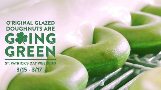 Screenshot of O'Riginal Glazed 'Going Green' Doughnuts from KrispyKreme.com.