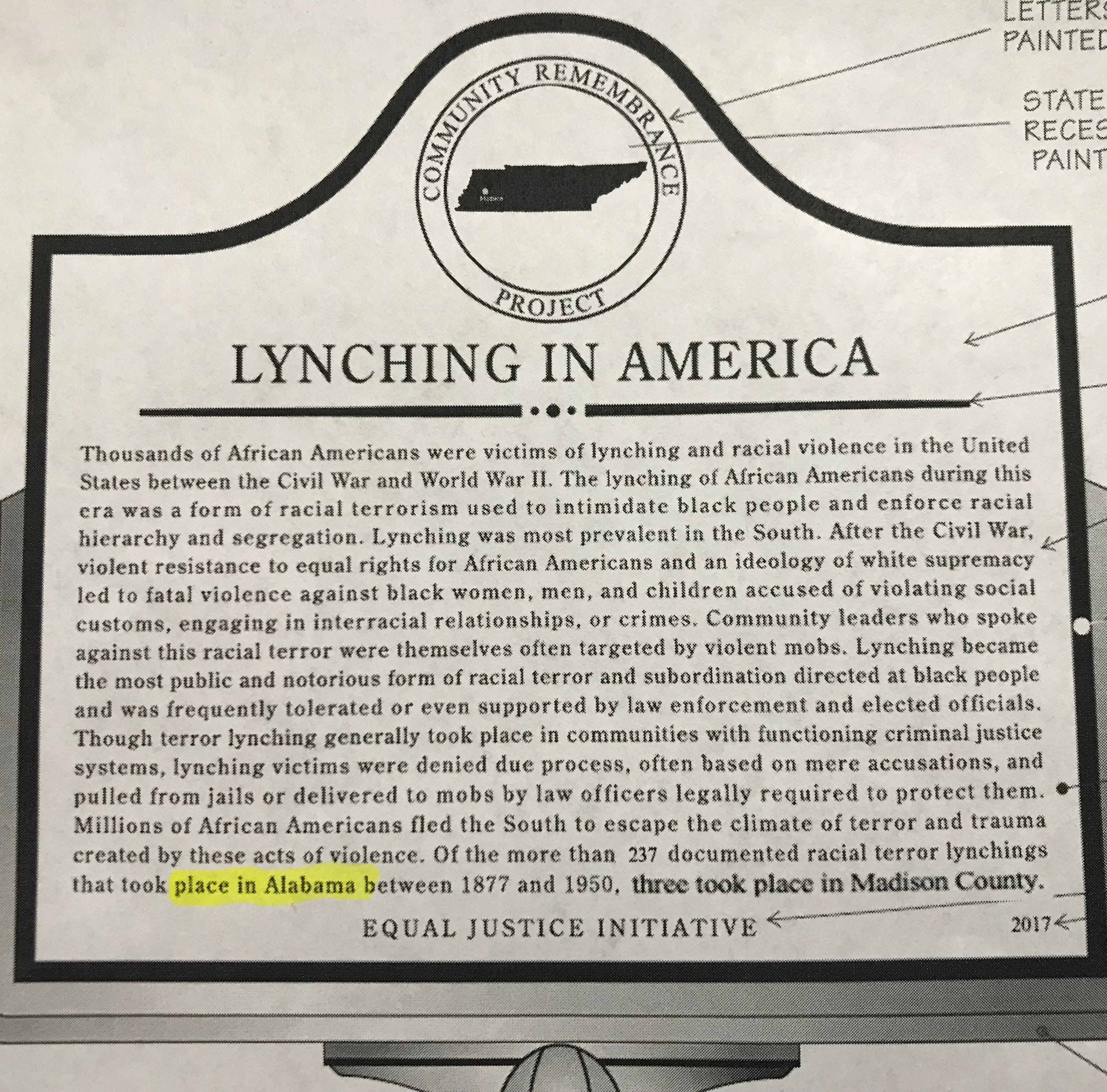 Wording on Madison County lynching memorial sparks debate among commissioners