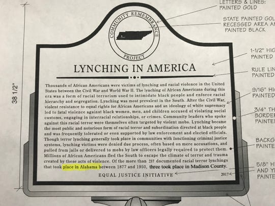 The Equal Justice Initiative side of a lynching memorial plaque that was proposed for the Madison County Courthouse lawn.