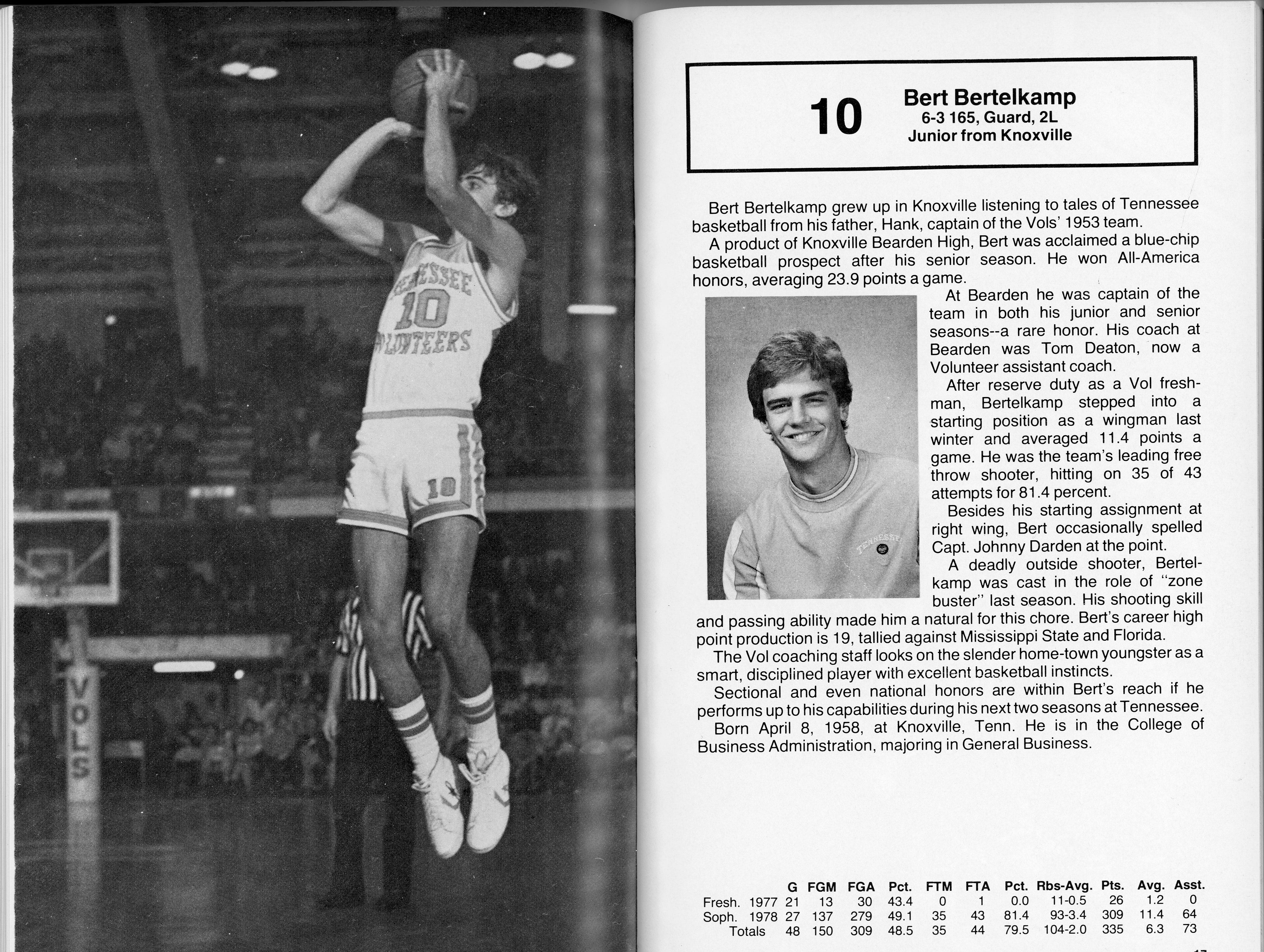 Scans of the 1978-1979 Tennessee basketball media guide. Tennessee beat University of Kentucky in the SEC championship in 1979.