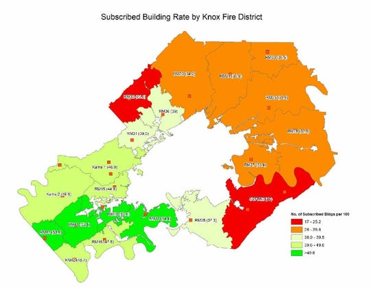 The rate of buildings subscribed to fire protection services by fire district in Knox County is shown.