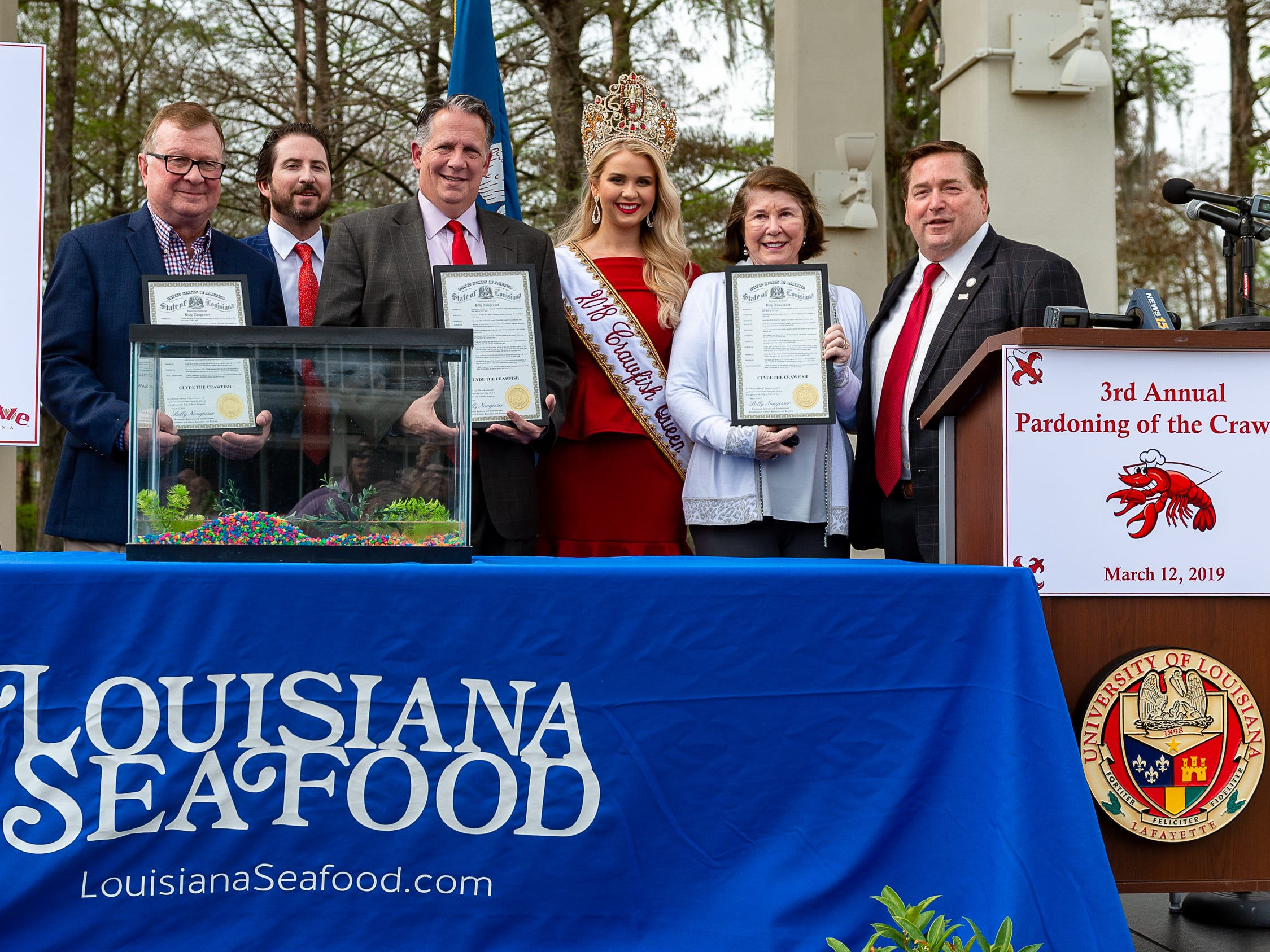Louisiana Lieutenant Governor Billy Nungesser and the Louisiana Seafood Promotion and Marketing Board host the 3rd Annual Pardoning of the Crawfish at Cypress Lake Plaza on the campus of the University of Louisiana at Lafayette. Started in 2017 by Lt. Governor Nungesser, this unique event celebrates crawfish season in Louisiana and across the Gulf South. Tuesday, March 12, 2019.