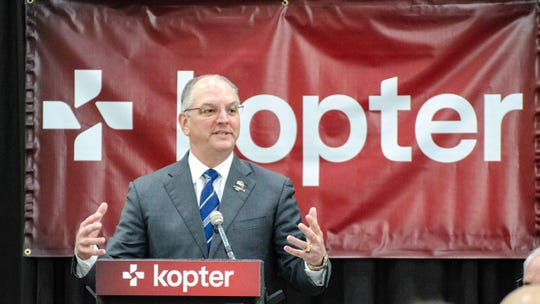 Governor John Bel Edwars speaks at the Kopter Manufacturing Faciltiy Dedication.