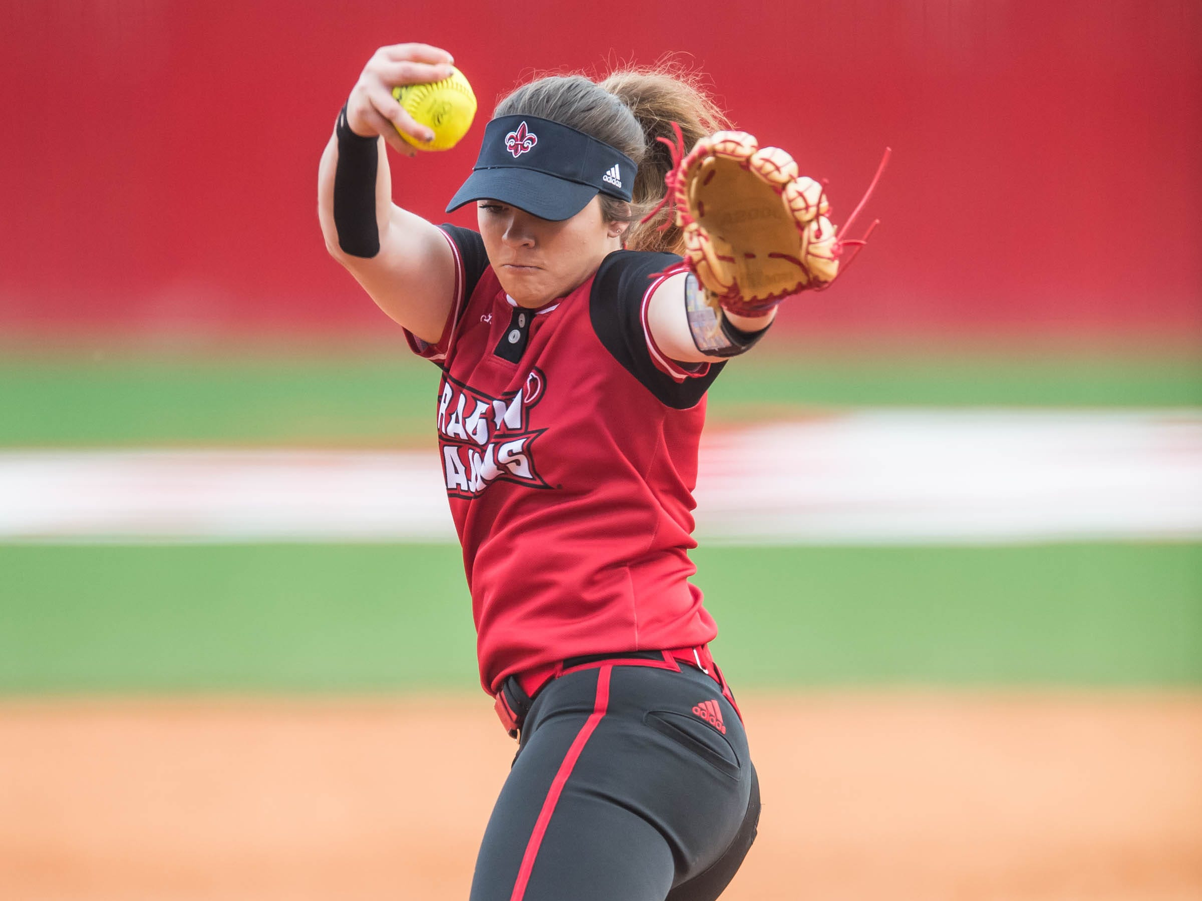 UL pitcher Summer Ellyson throws 16 strike outs against the Baylor Bears on Monday night at Lamson Park.