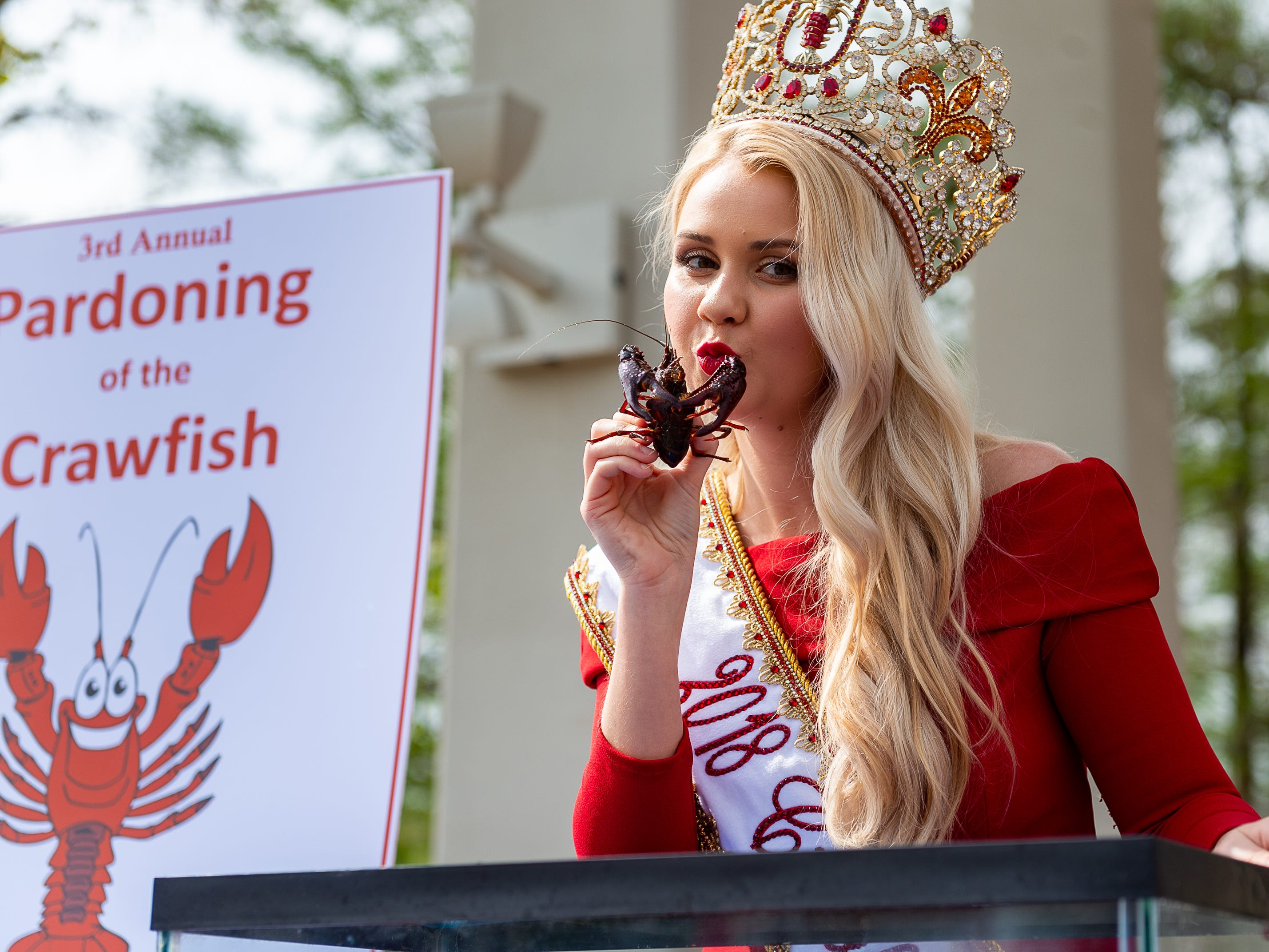 Louisiana Lieutenant Governor Billy Nungesser and the Louisiana Seafood Promotion and Marketing Board host the 3rd Annual Pardoning of the Crawfish at Cypress Lake Plaza on the campus of the University of Louisiana at Lafayette. Started in 2017 by Lt. Governor Nungesser, this unique event celebrates crawfish season in Louisiana and across the Gulf South. Tuesday, March 12, 2019. (Pictured- Gabrielle Hebert, La Crawfish Festival Queen)