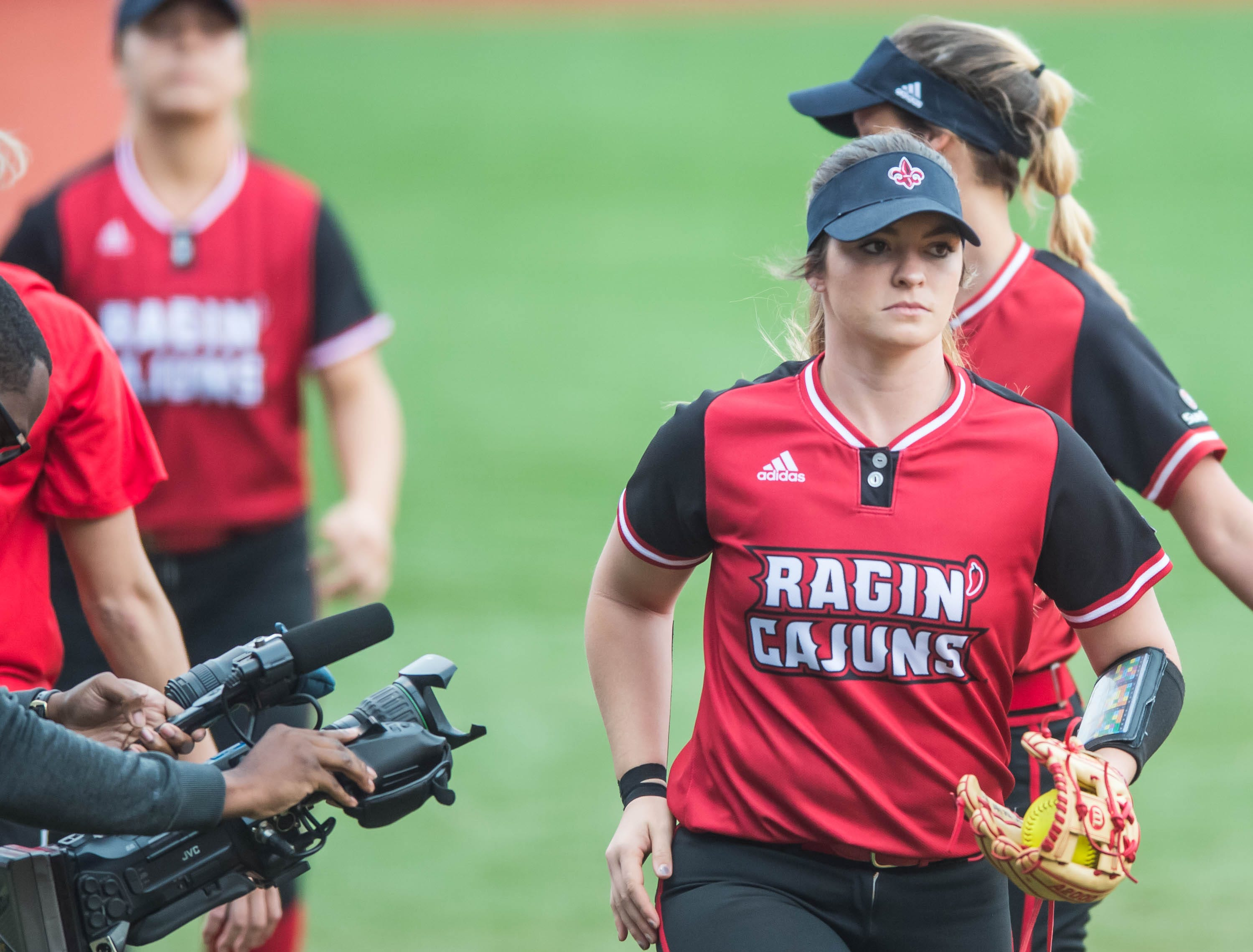 UL pitcher Summer Ellyson gets ready to take the field as the Cajuns play the Baylor Bear on Monday night at Lamson Park.