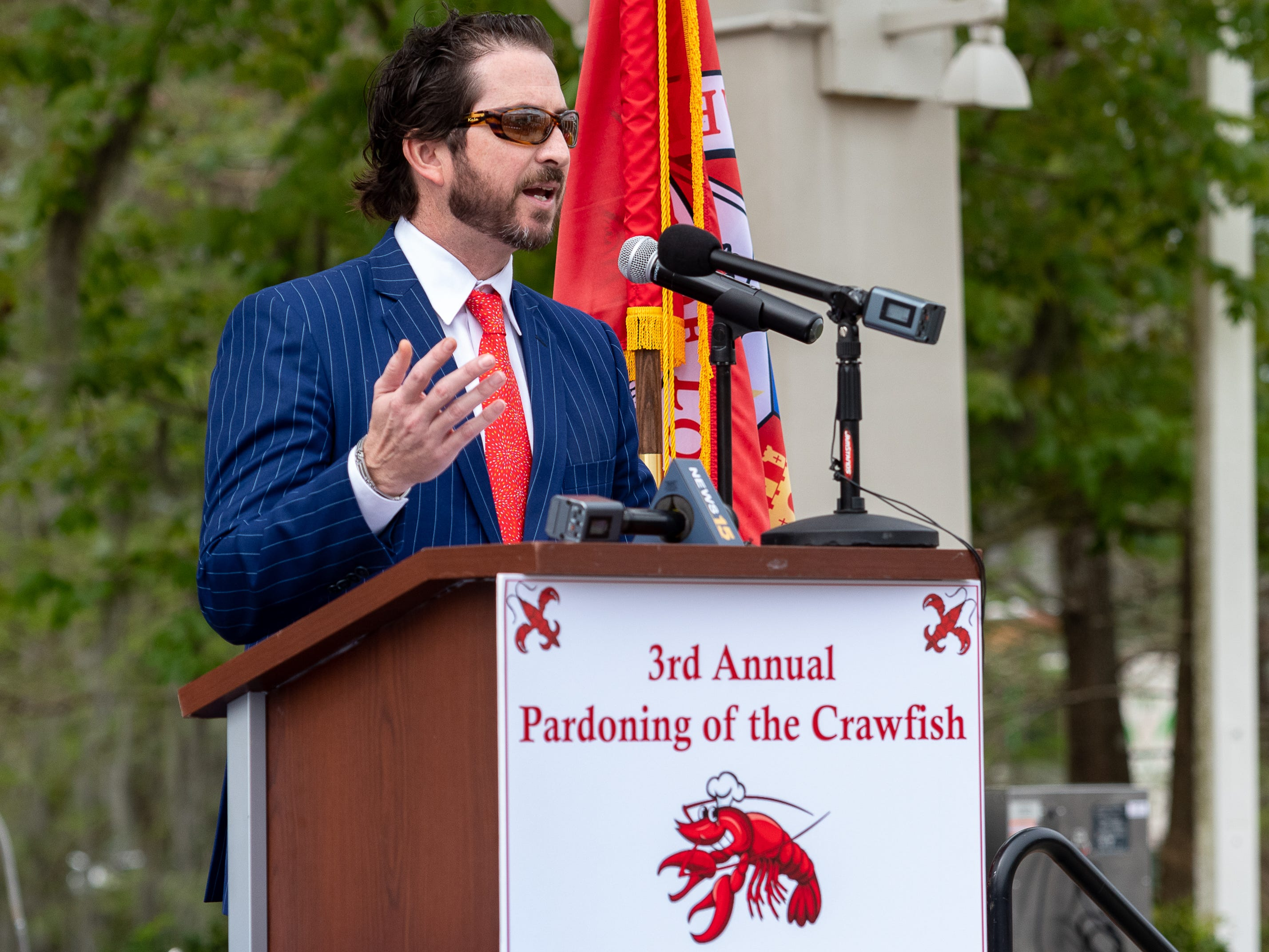 Louisiana Lieutenant Governor Billy Nungesser and the Louisiana Seafood Promotion and Marketing Board host the 3rd Annual Pardoning of the Crawfish at Cypress Lake Plaza on the campus of the University of Louisiana at Lafayette. Started in 2017 by Lt. Governor Nungesser, this unique event celebrates crawfish season in Louisiana and across the Gulf South. Tuesday, March 12, 2019. (Pictured- Ben Berthelot- President & CEO Lafayette Convention and Visitors Commission)