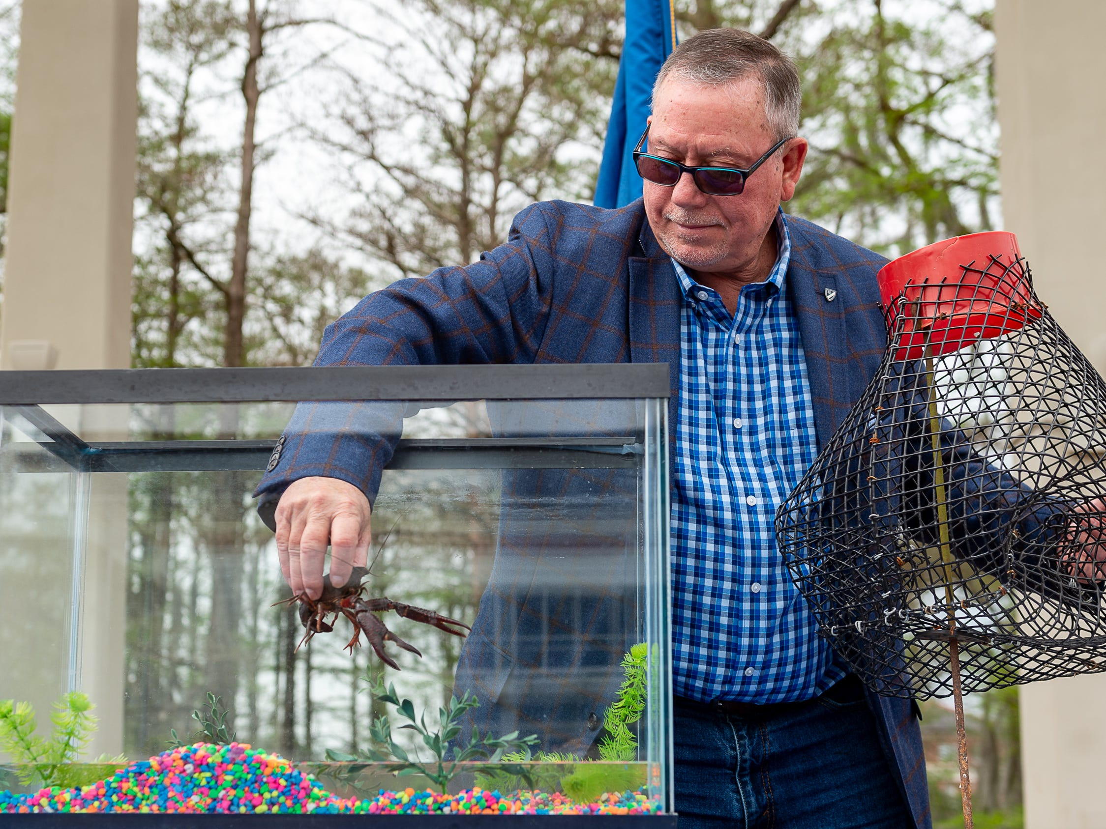 Louisiana Lieutenant Governor Billy Nungesser and the Louisiana Seafood Promotion and Marketing Board host the 3rd Annual Pardoning of the Crawfish at Cypress Lake Plaza on the campus of the University of Louisiana at Lafayette. Started in 2017 by Lt. Governor Nungesser, this unique event celebrates crawfish season in Louisiana and across the Gulf South. Tuesday, March 12, 2019. (Pictured-Barry Toups Louisiana Seafood Promotion and Marketing Board Crawfish Industry Representative)